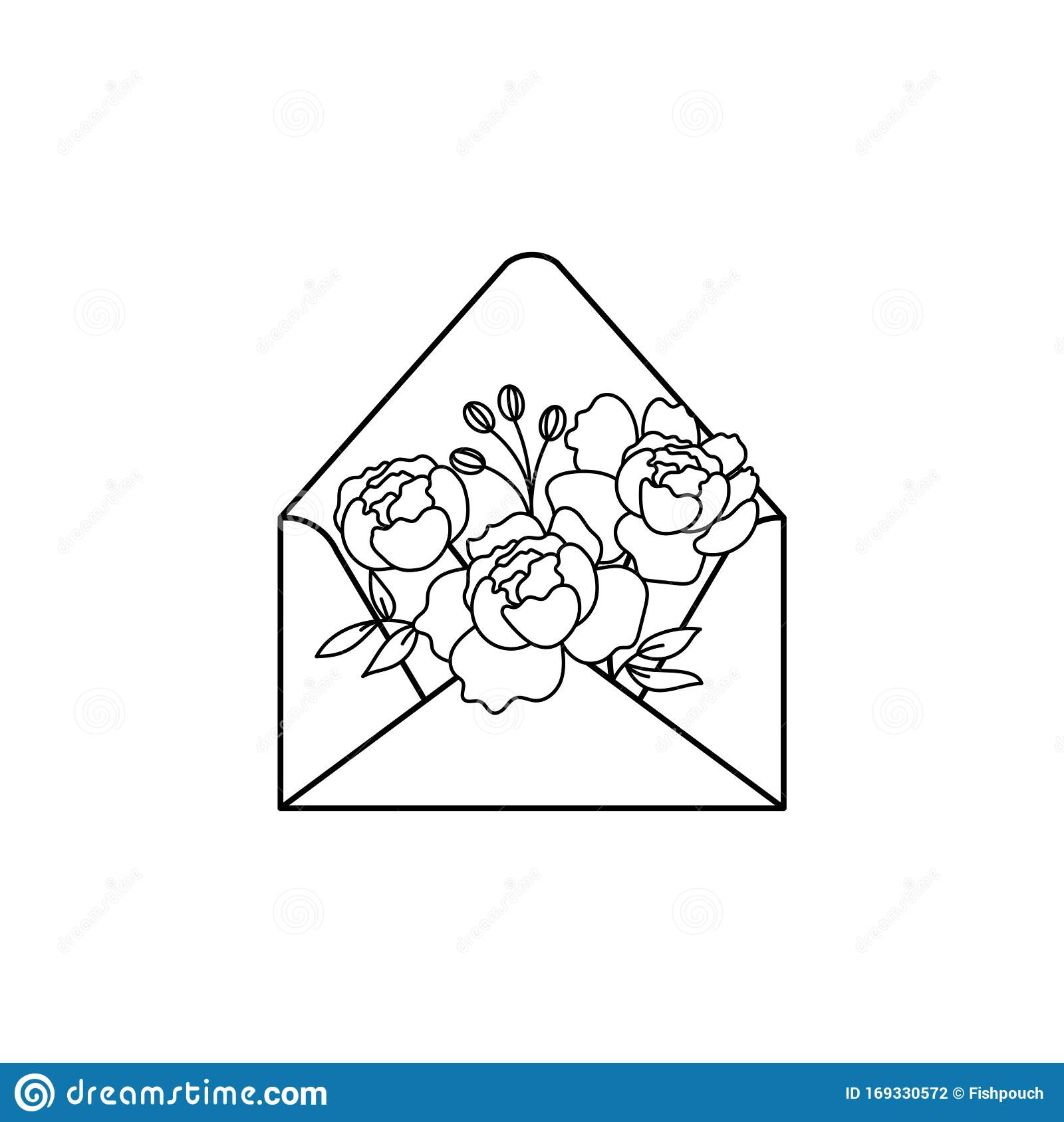 Open Envelope With Flowers Outline Doodle Style Vector ...