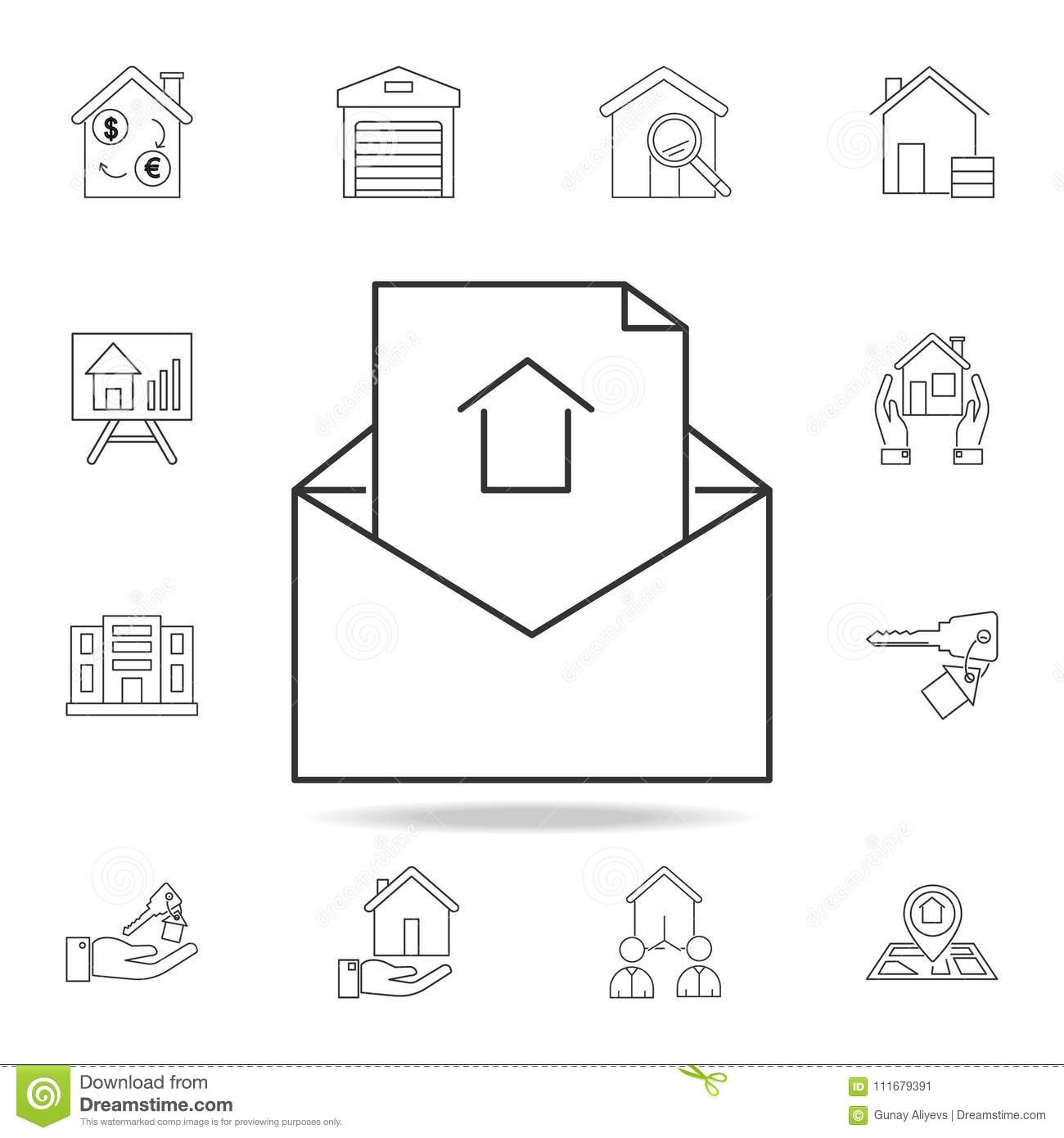open envelope for lette icon set of sale real estate element icons