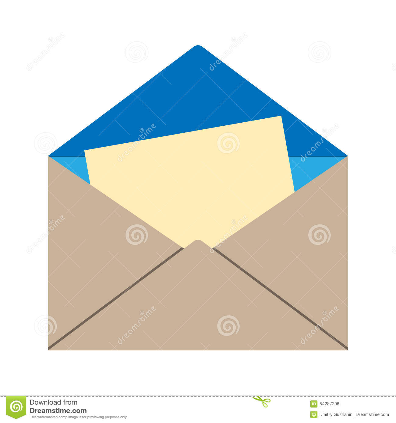 open envelope with letter stock vector. illustration of card - 64287206
