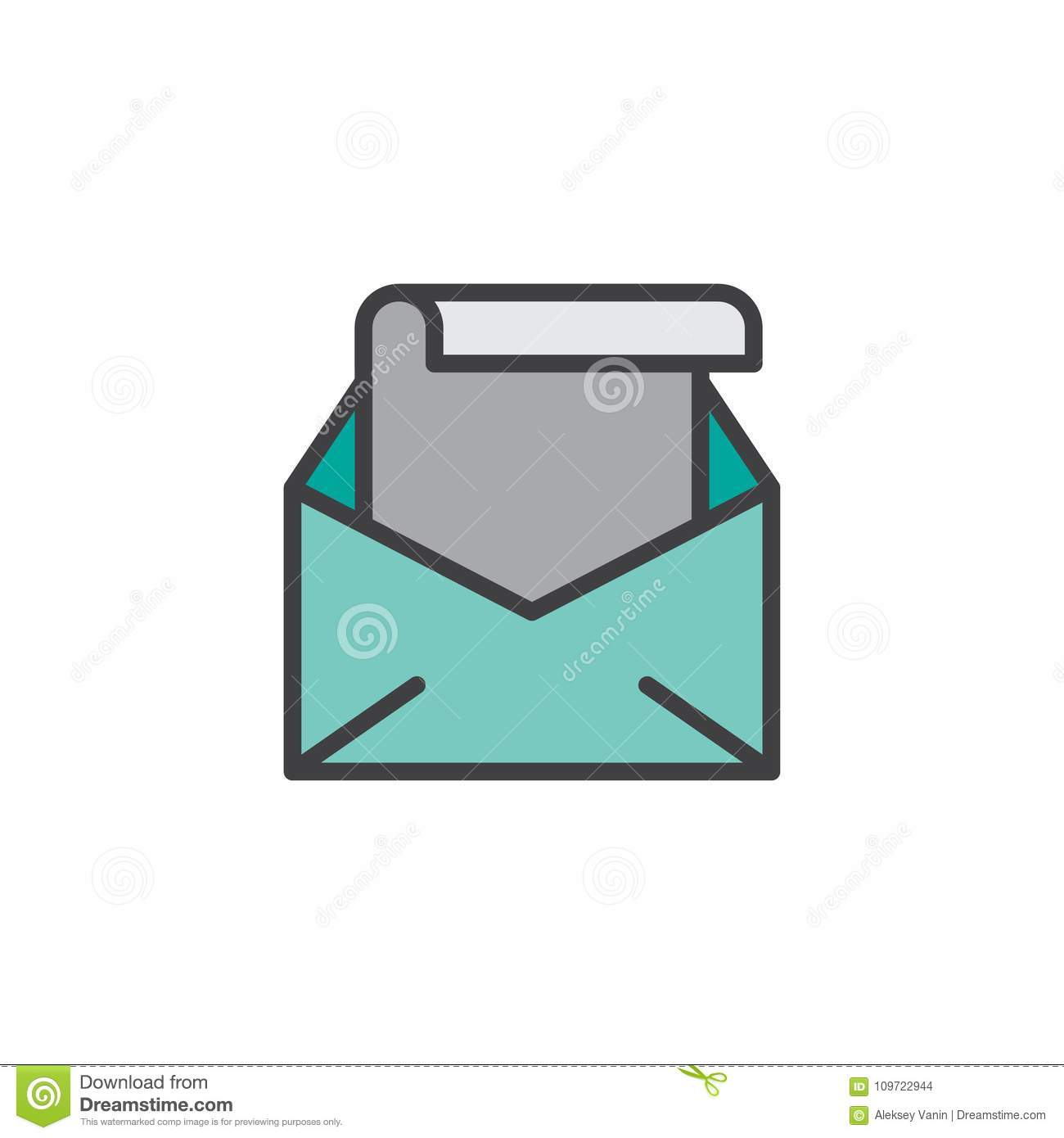 open envelope with letter filled outline icon