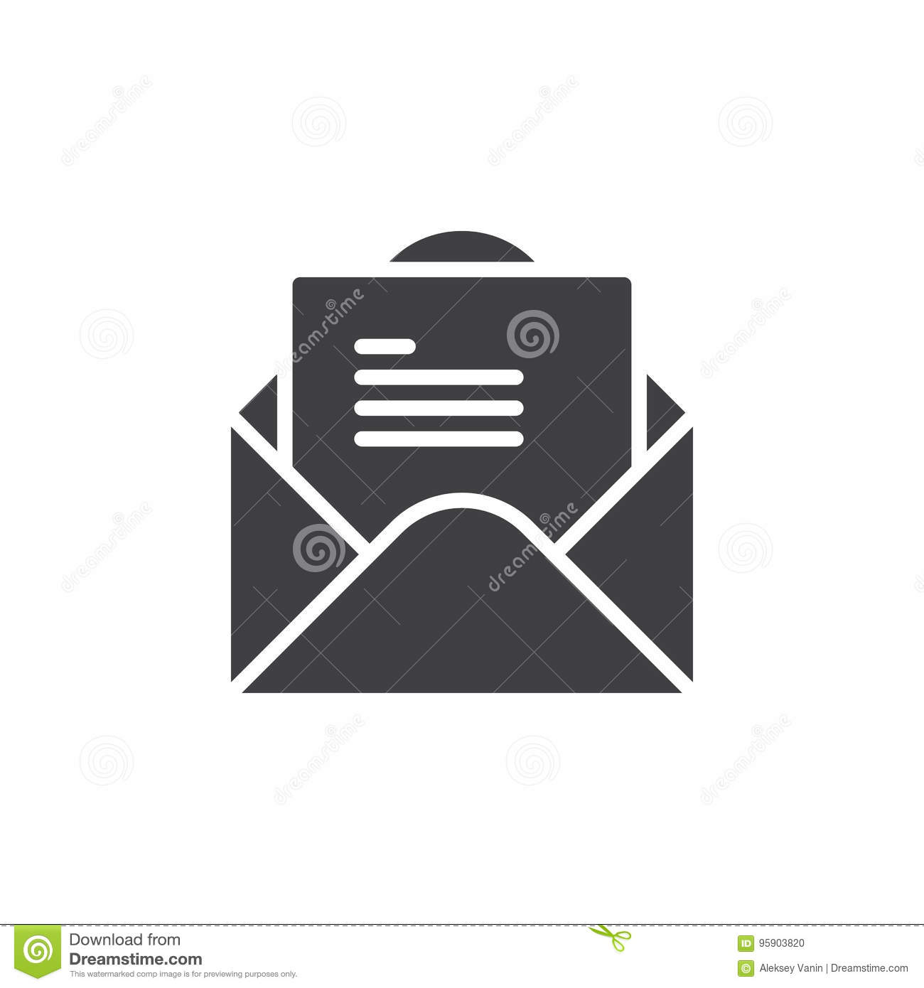 Open Envelope With Letter Icon Vector Filled Flat Sign Solid