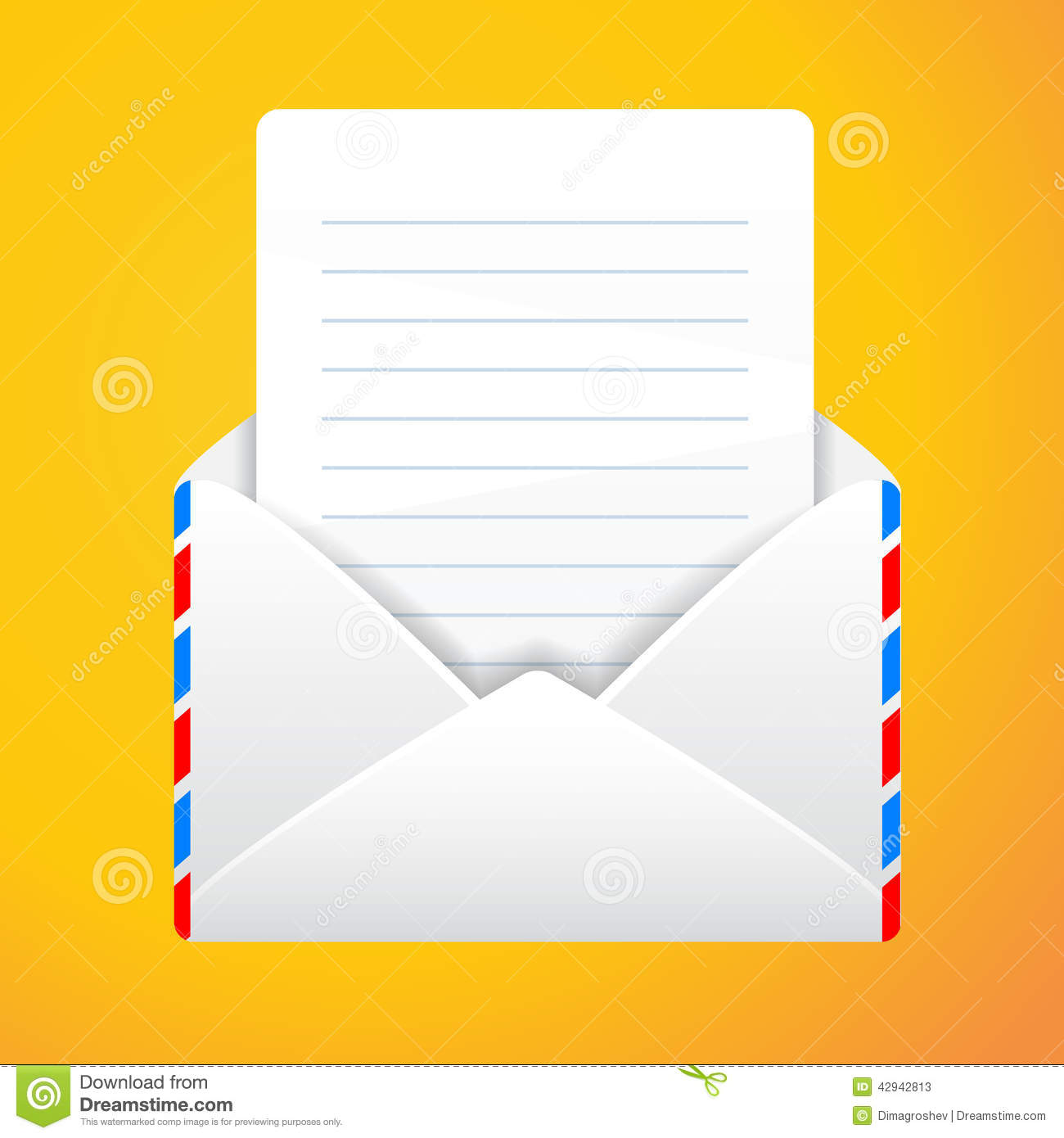 open envelope with a letter with inscription illustration 42942813