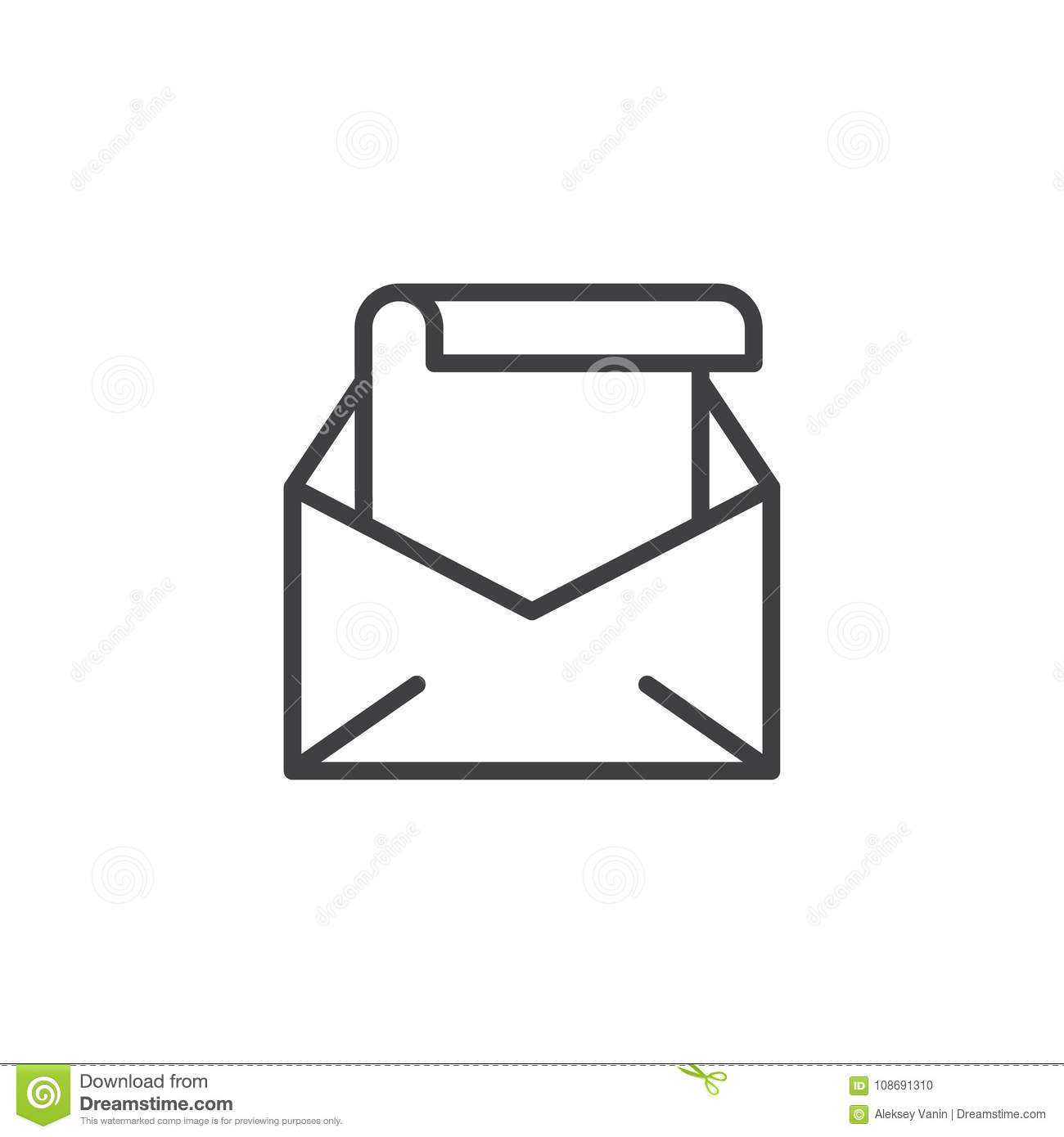 download open envelope with letter line icon stock vector illustration of editable office