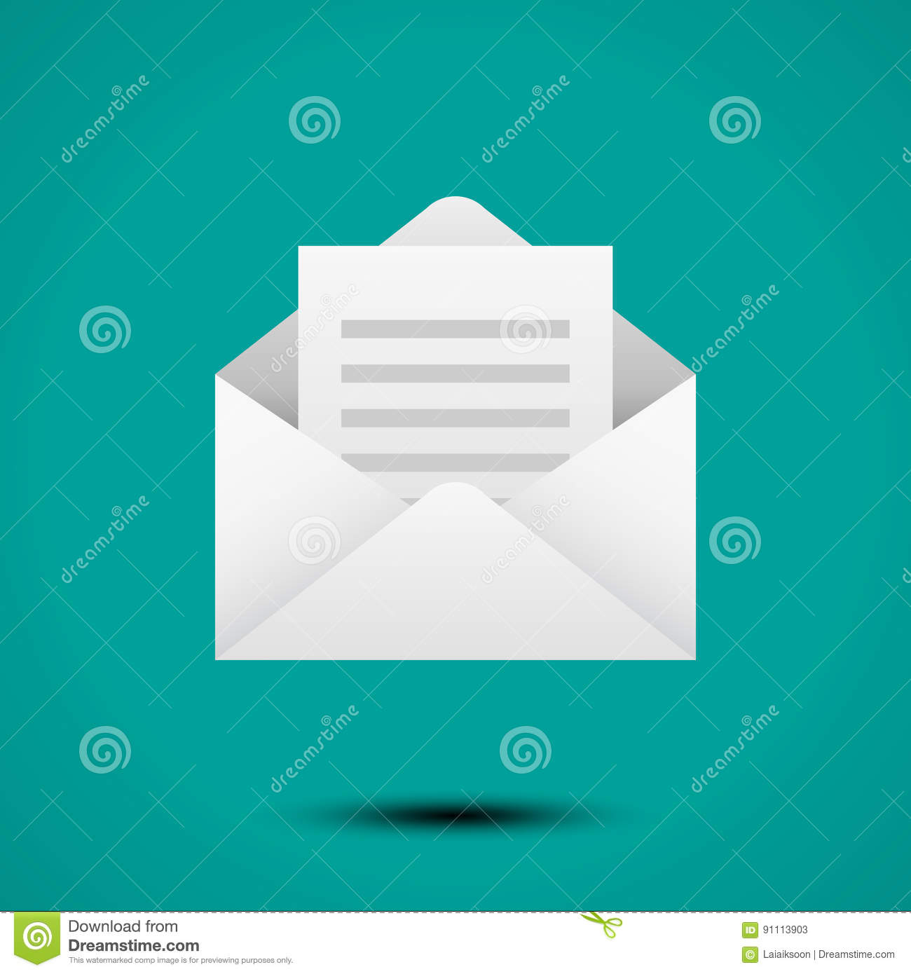 open envelope for letter