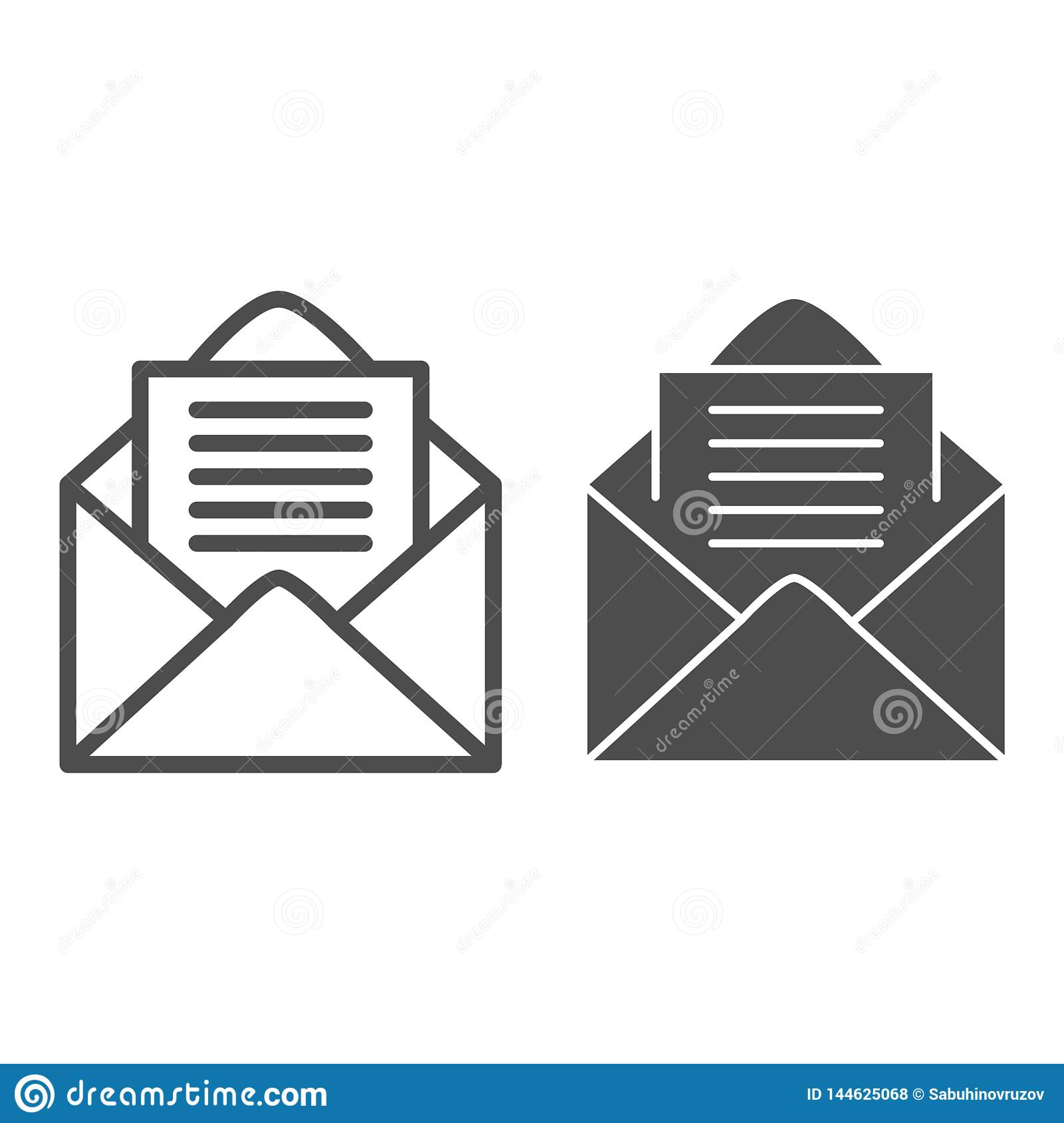 Open Envelope Line And Glyph Icon. Letter Vector ...