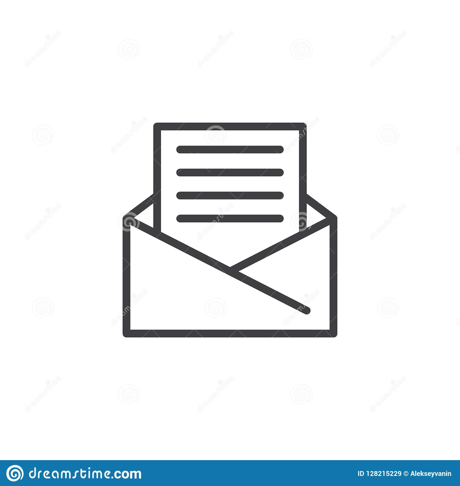Open Envelope Mail Outline Icon Stock Vector ...