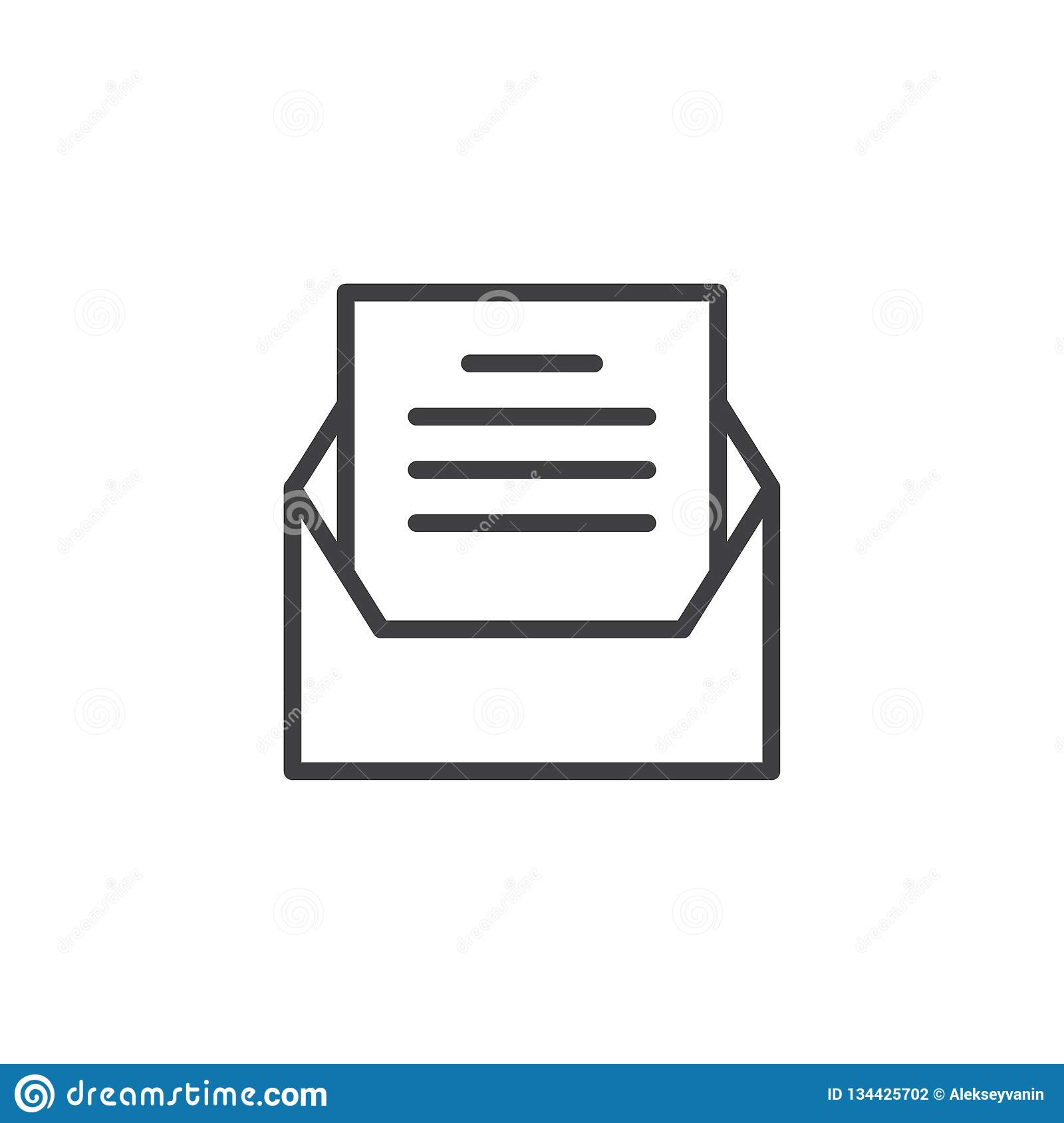 Open Envelope Message Outline Icon Stock Vector