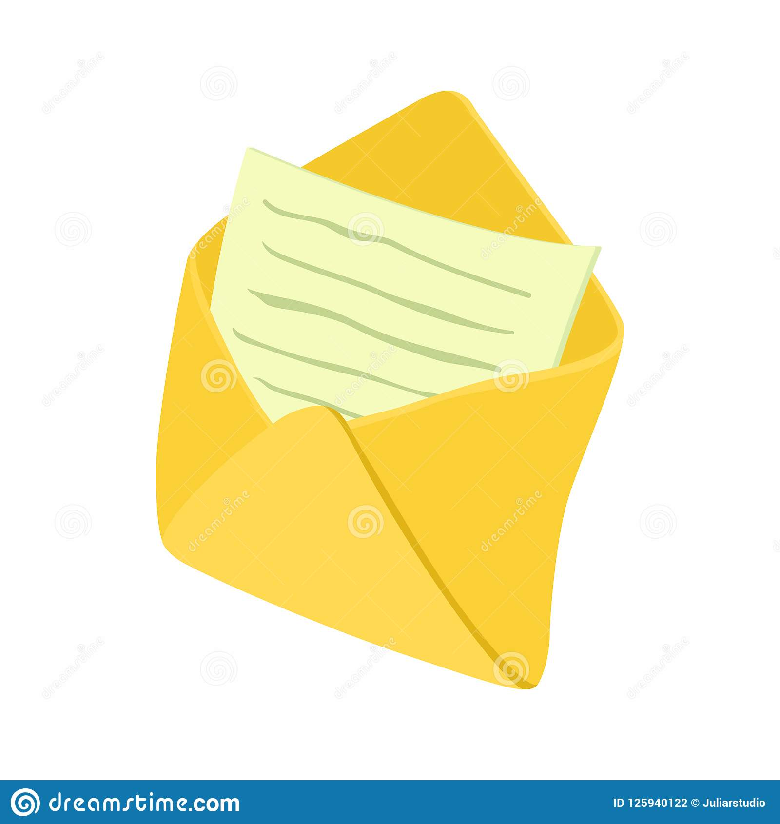 Open Envelope With Notepad Sheet Icon Stock Illustration
