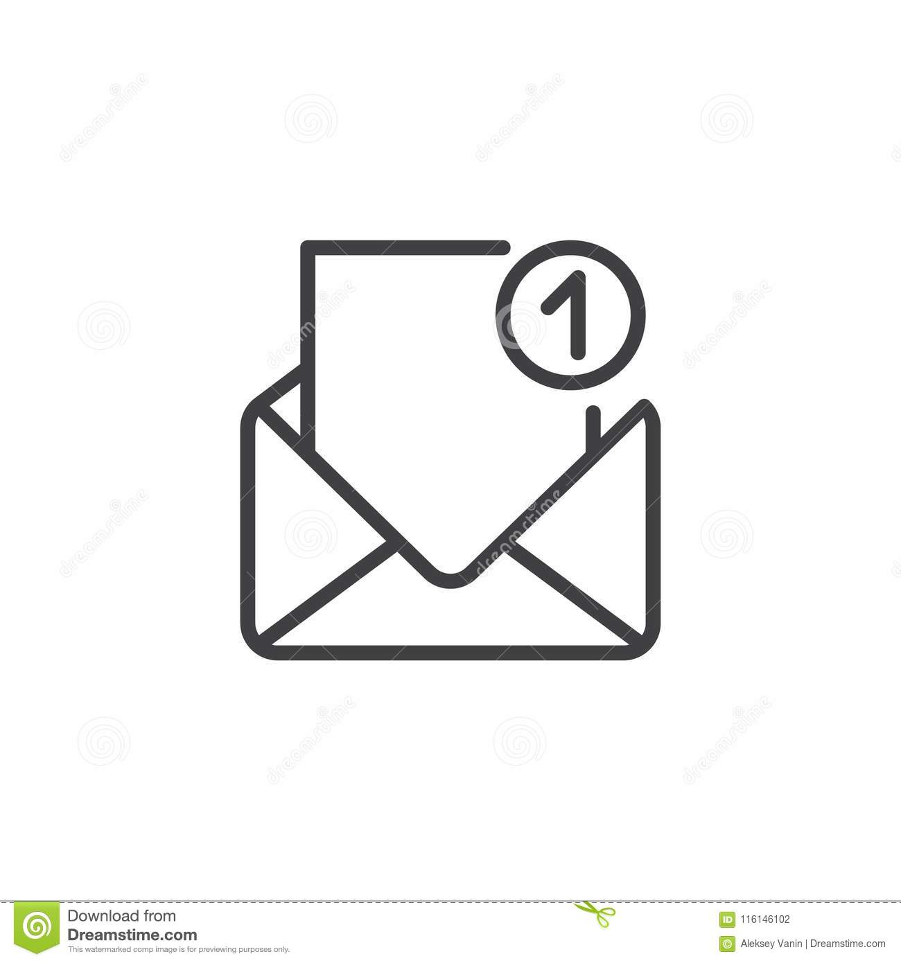 Open Envelope With One Message Outline Icon Stock Vector