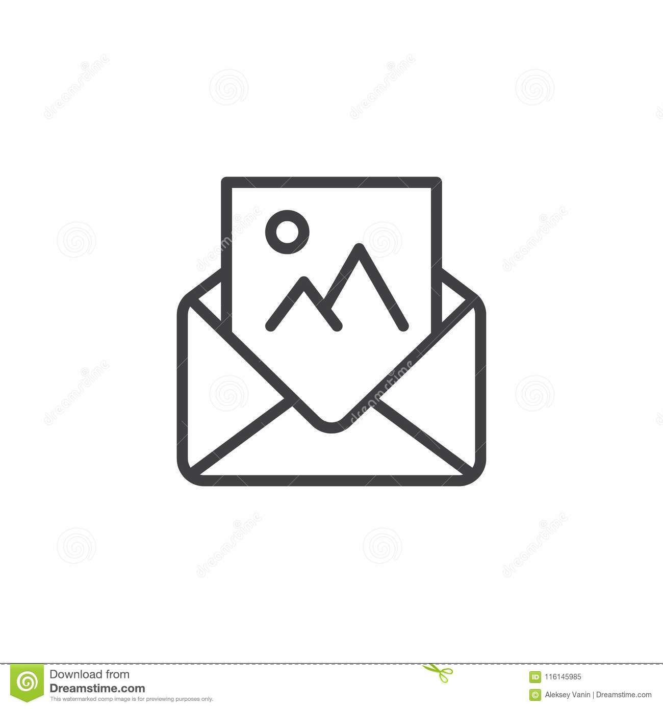 Open Envelope With Photography Letter Outline Icon Stock ...