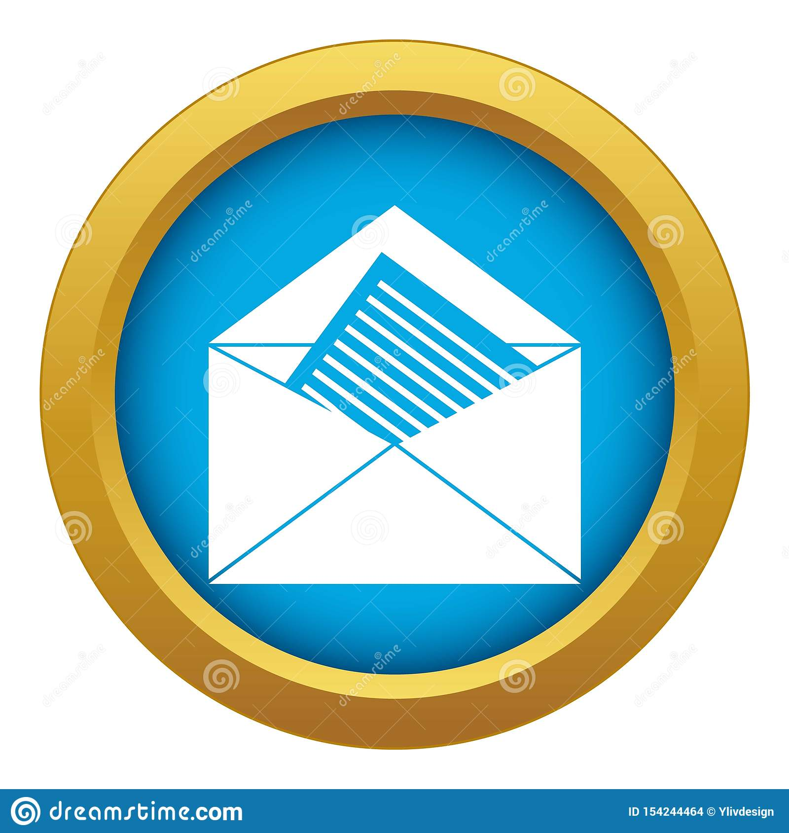 Open Envelope With Sheet Of Paper Icon Blue Vector