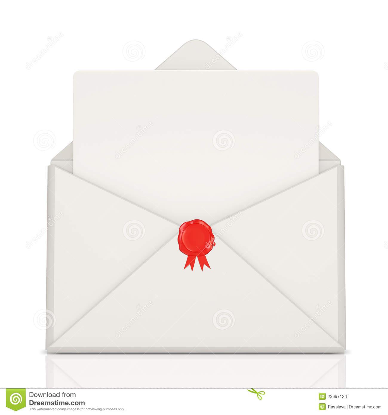 Open Envelope With Wax And Blank Letter Stock Illustration