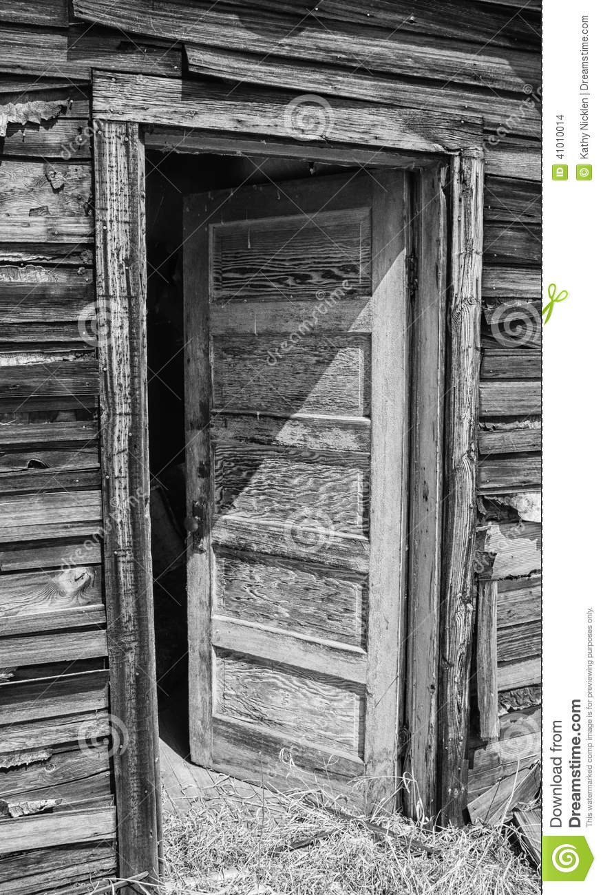 Open exterior door on old house stock photo image 41010014