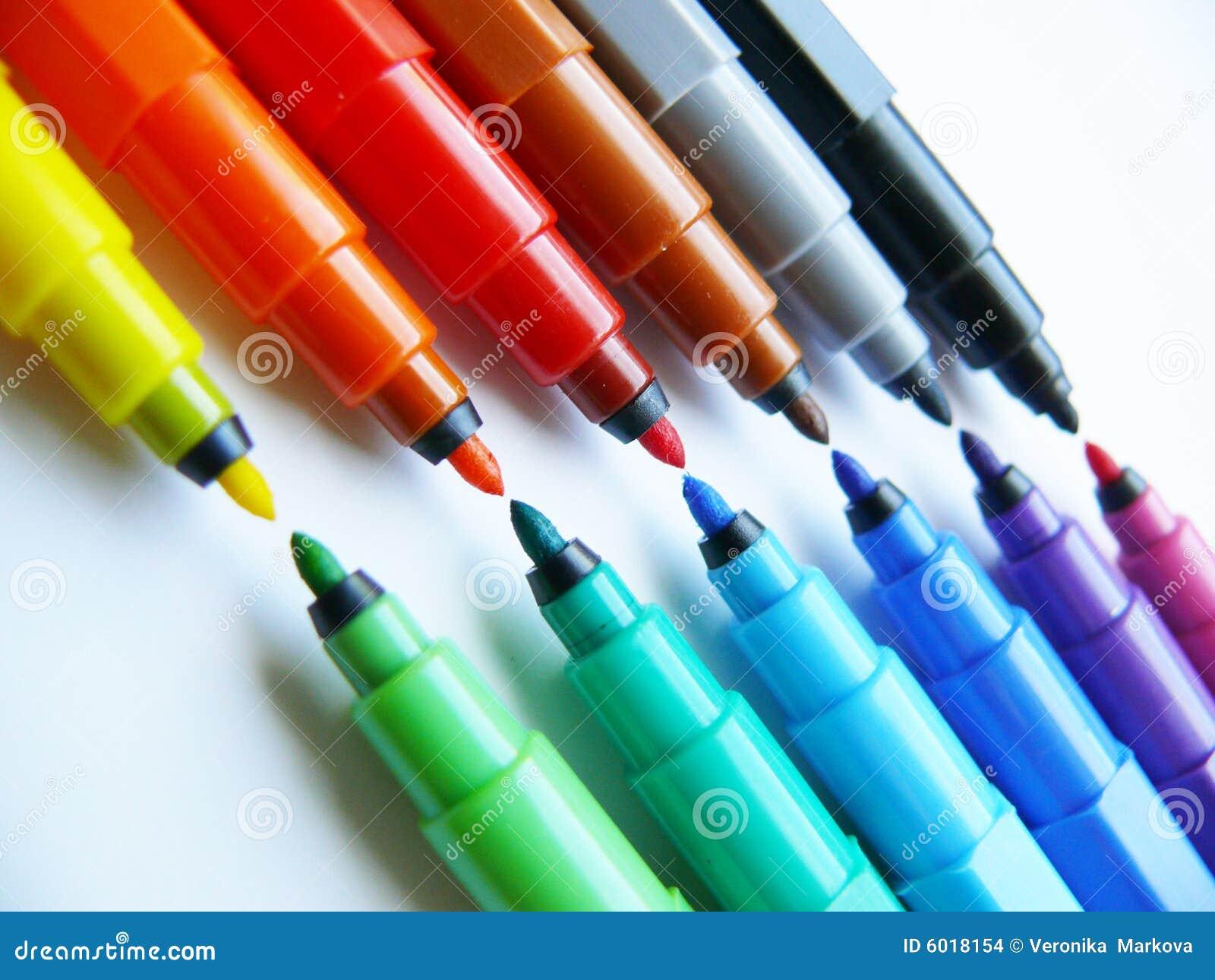 open felt tip pens markers stock photo image of color pens 6018154. Black Bedroom Furniture Sets. Home Design Ideas