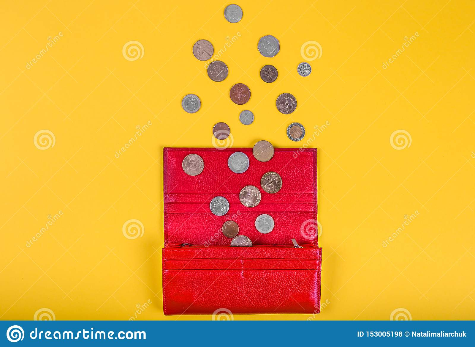 Open Female Red Leather Wallet With Different Coins On Yellow Background With Copy Space, Overhead View
