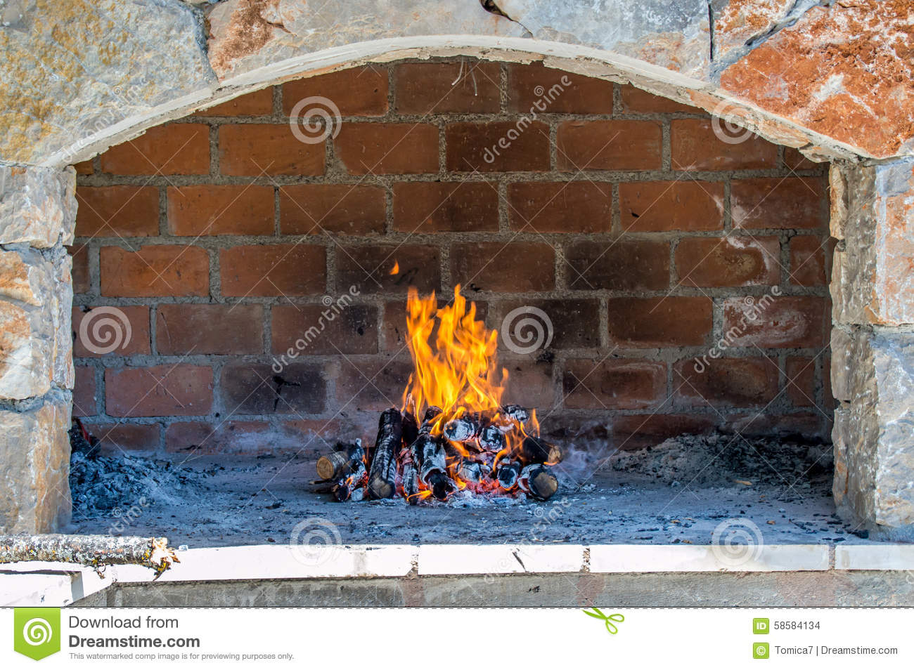 Open fire place oven stock photo. Image of cooking, lamb ...