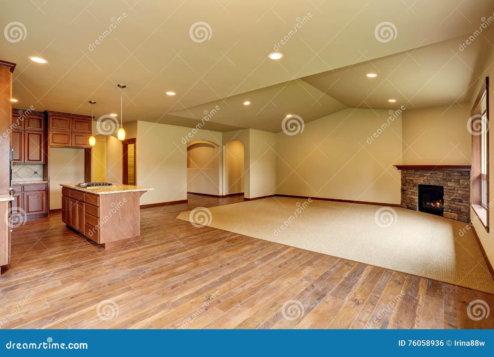 Open Floor Plan. Empty Living Room With Carpet Floor. Stock ...