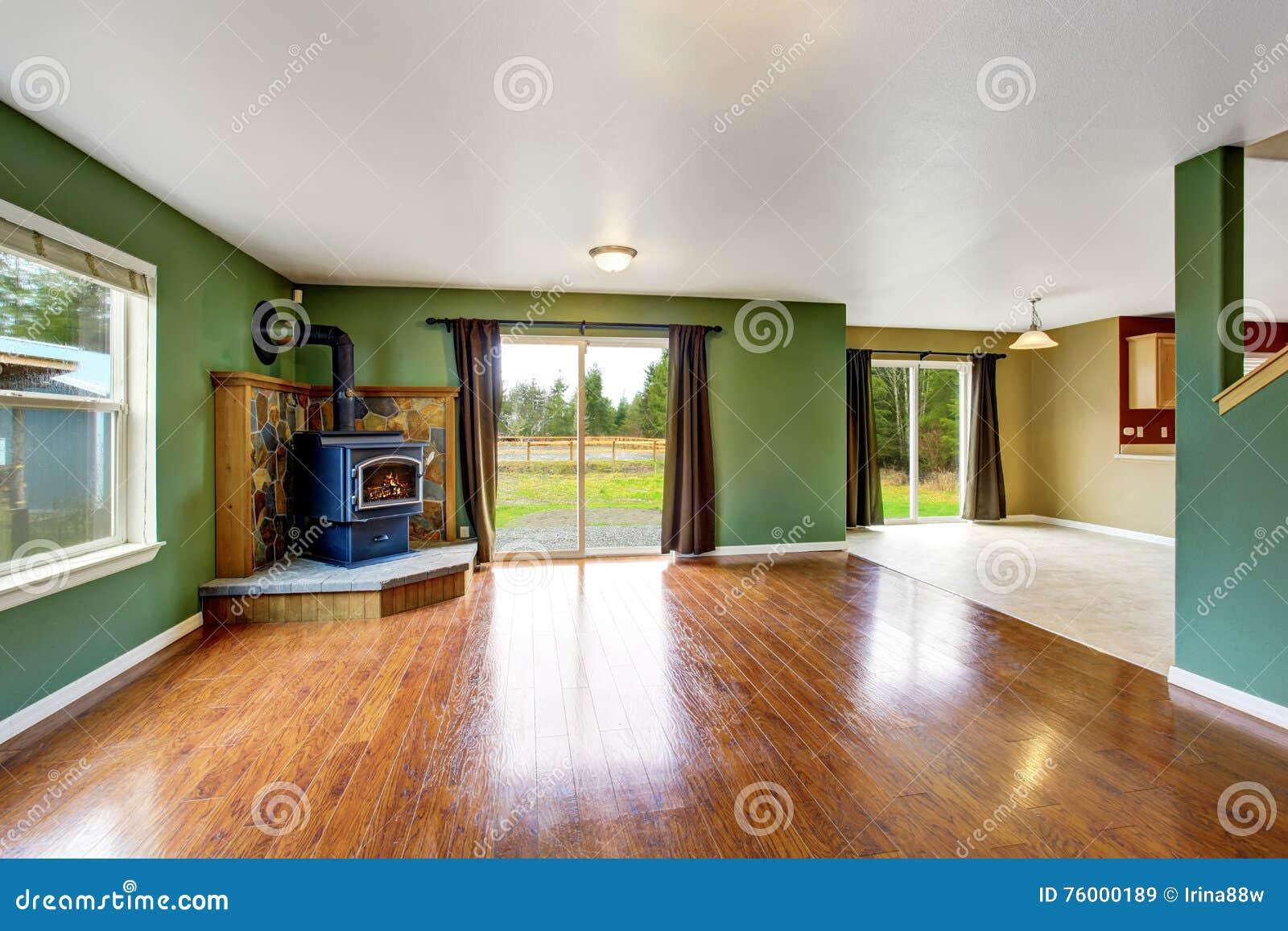 Open Floor Plan Interior With Green Walls And Hardwood Floor Stock Image Image Of Interior Home 76000189