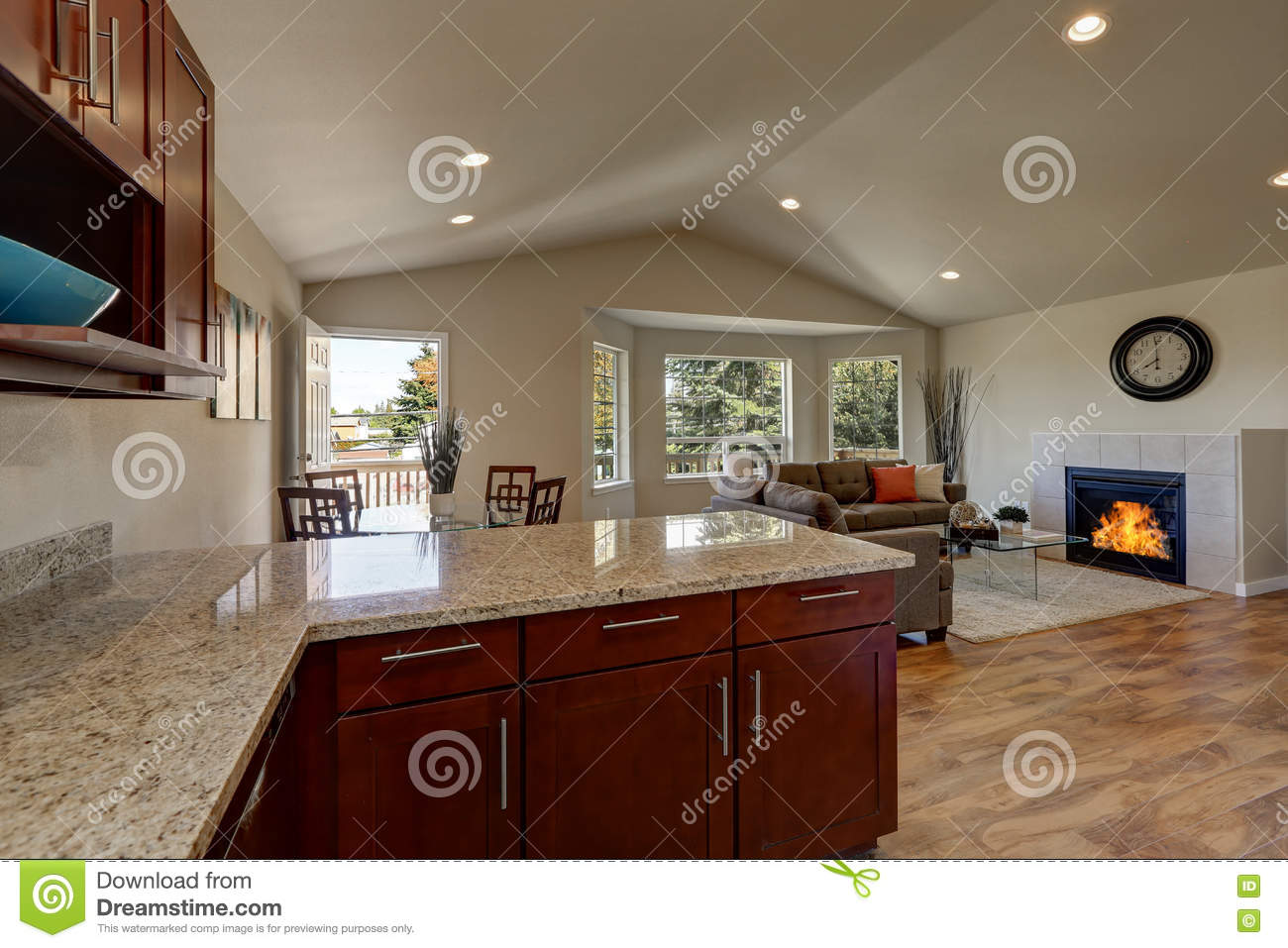 Open Floor Plan Of Kitchen Dining And Living Rooms Stock Photo