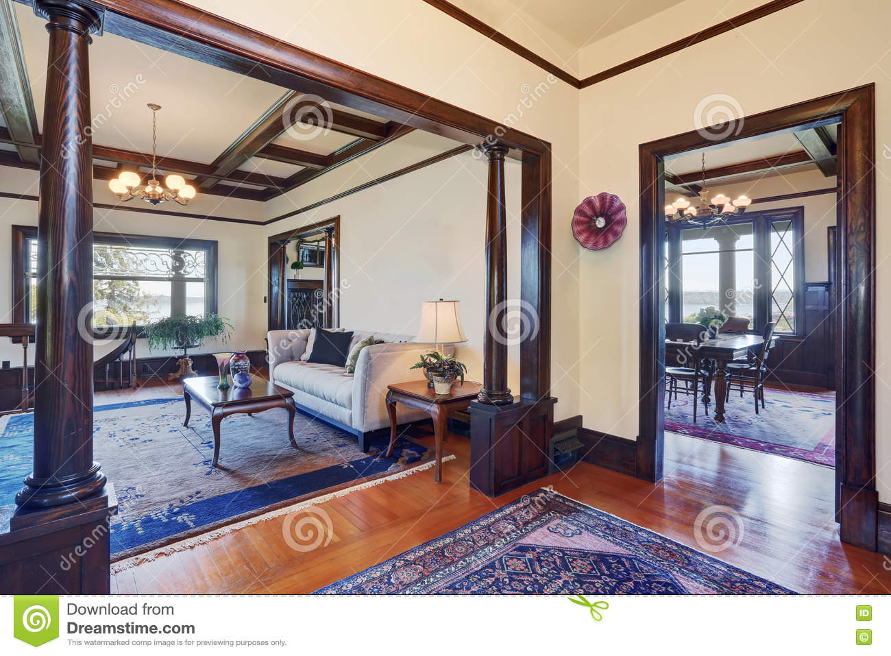 Open Floor Plan Of Living Room And Dining Room In Old Style House