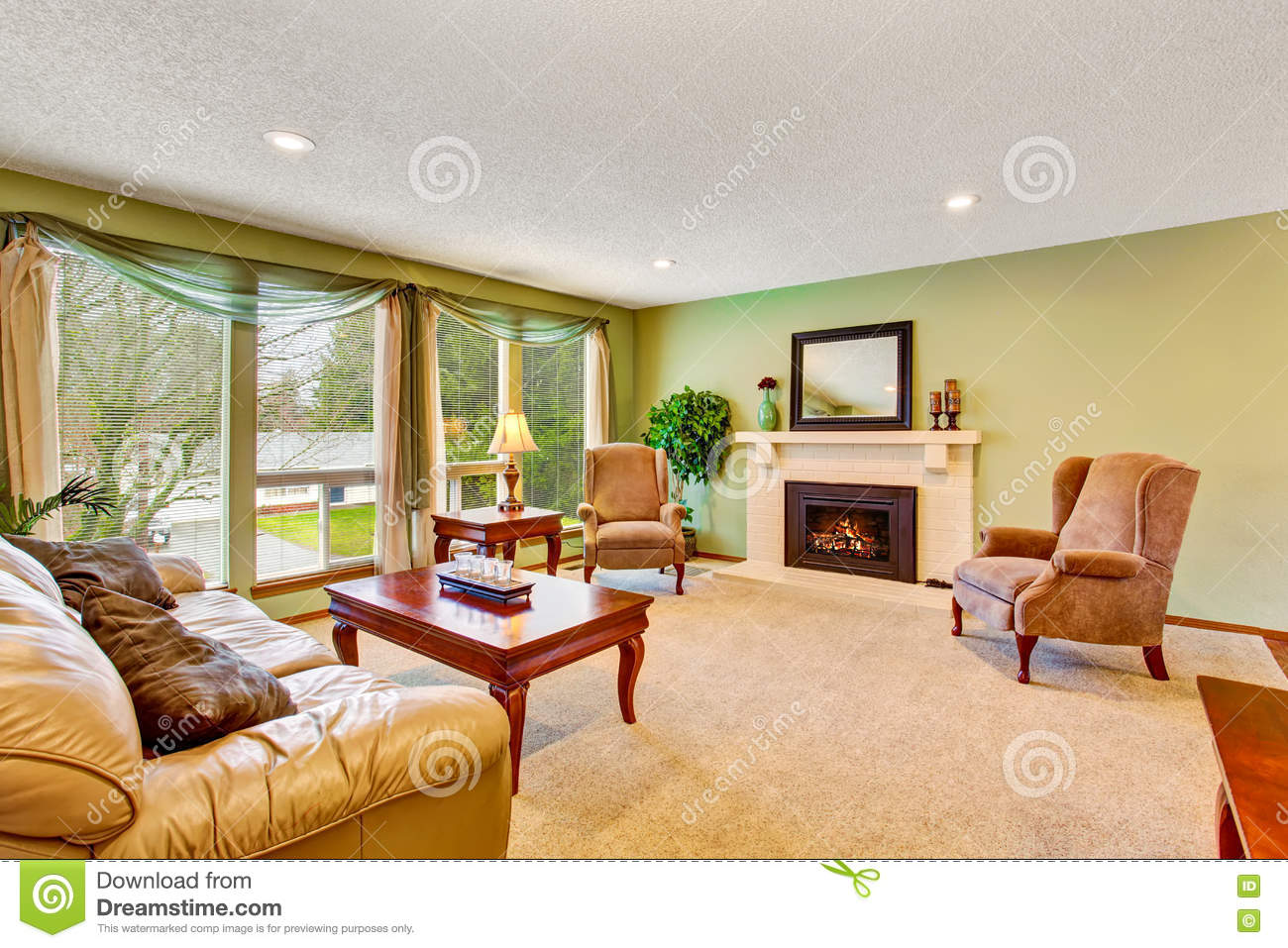 Green living room stock photography for Greenliving com