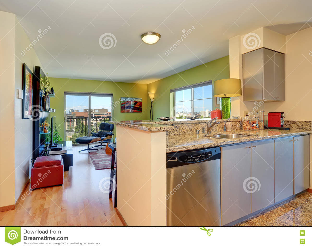 Modern Open Plan Living Room And Kitchen Royalty Free Stock Photography