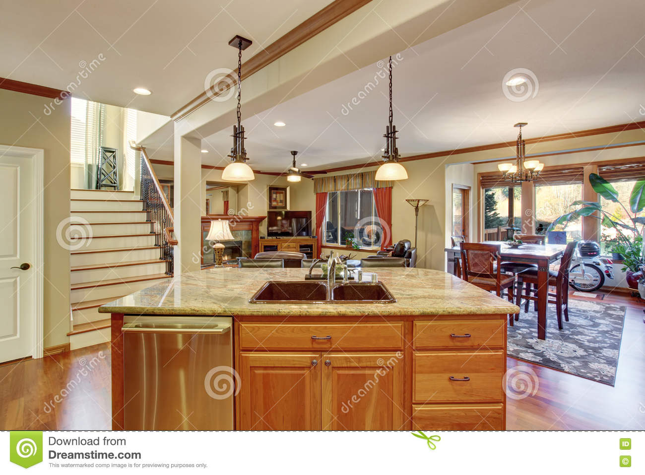 Open floor plan view of kitchen island with sink stock for Open kitchen floor plans with islands