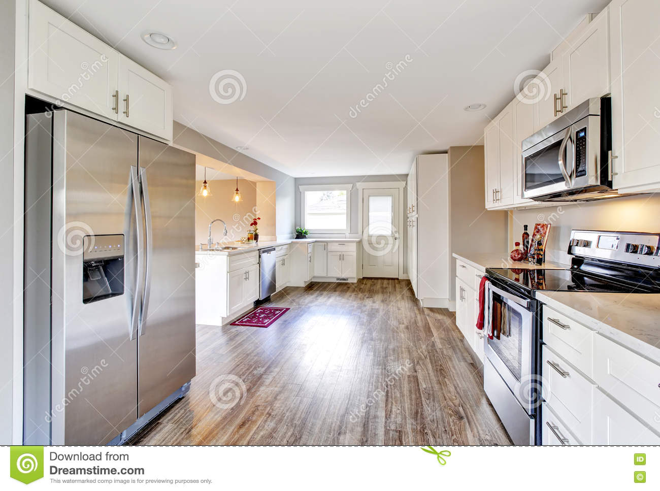 Open Floor Kitchen Open Floor Plan White Kitchen Room With Polished Hardwood Floor