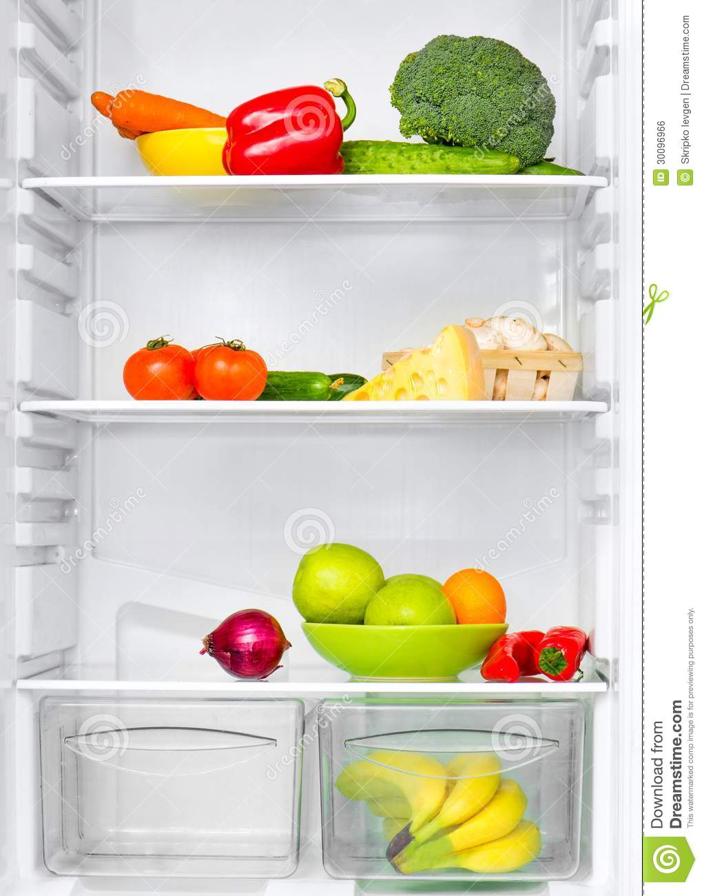 Background Of Refrigerator Full Of Fruits And Vegetables