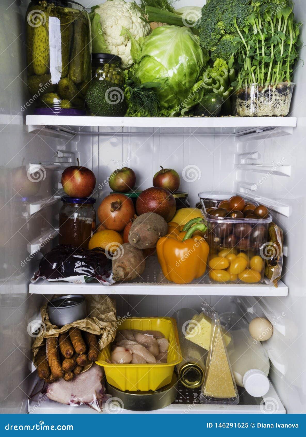 Open Fridge Full Of Fresh Fruits And Vegetables Healthy
