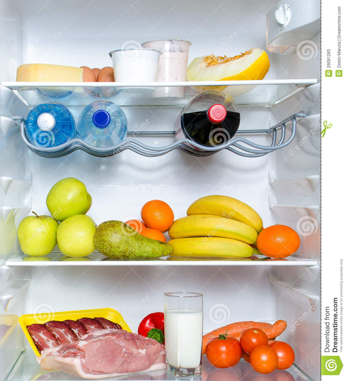 Open Fridge Full Of Fruits Stock Image Image Of Food 29091283