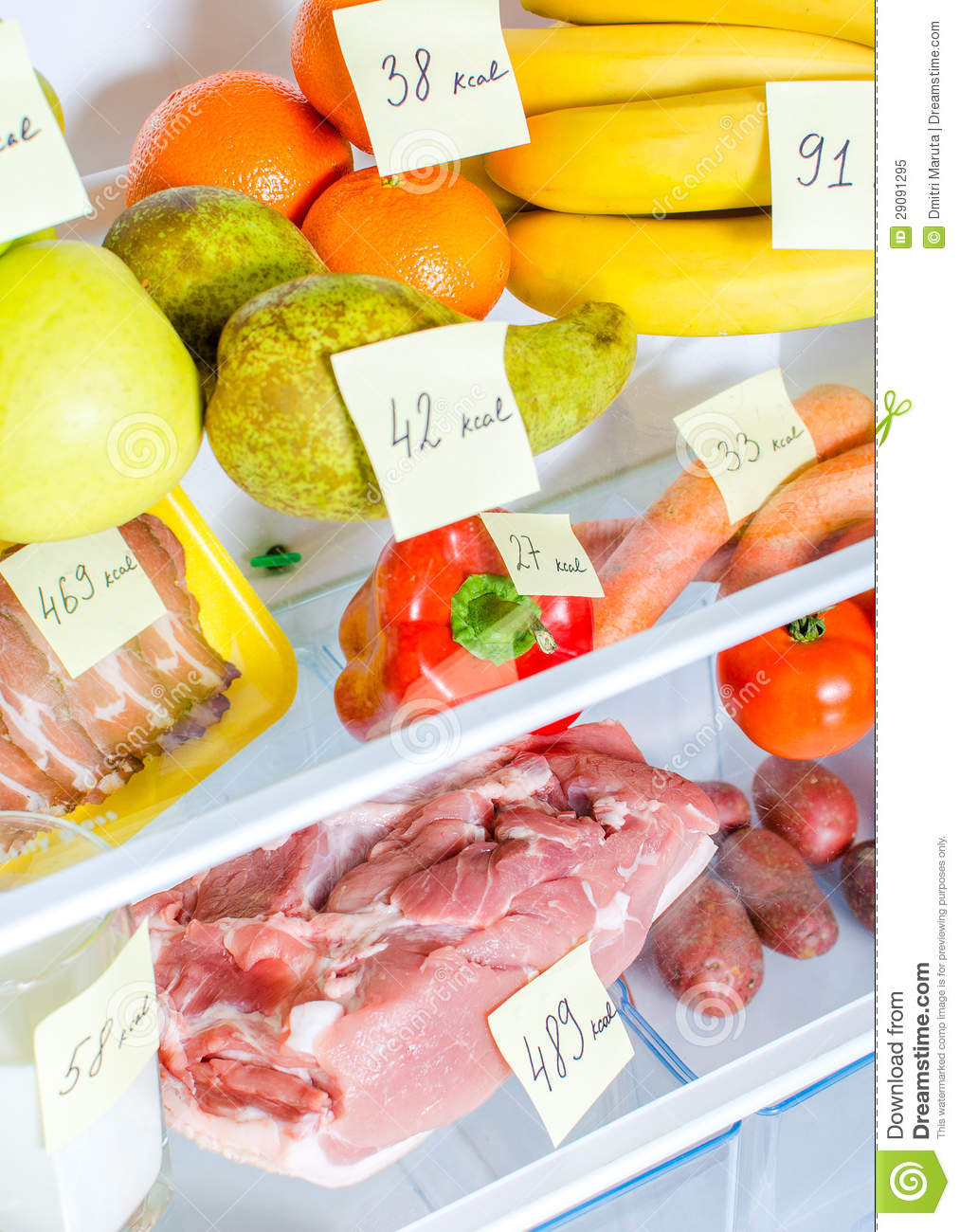 Open Fridge Full Of Fruits Vegetables And Meat Royalty