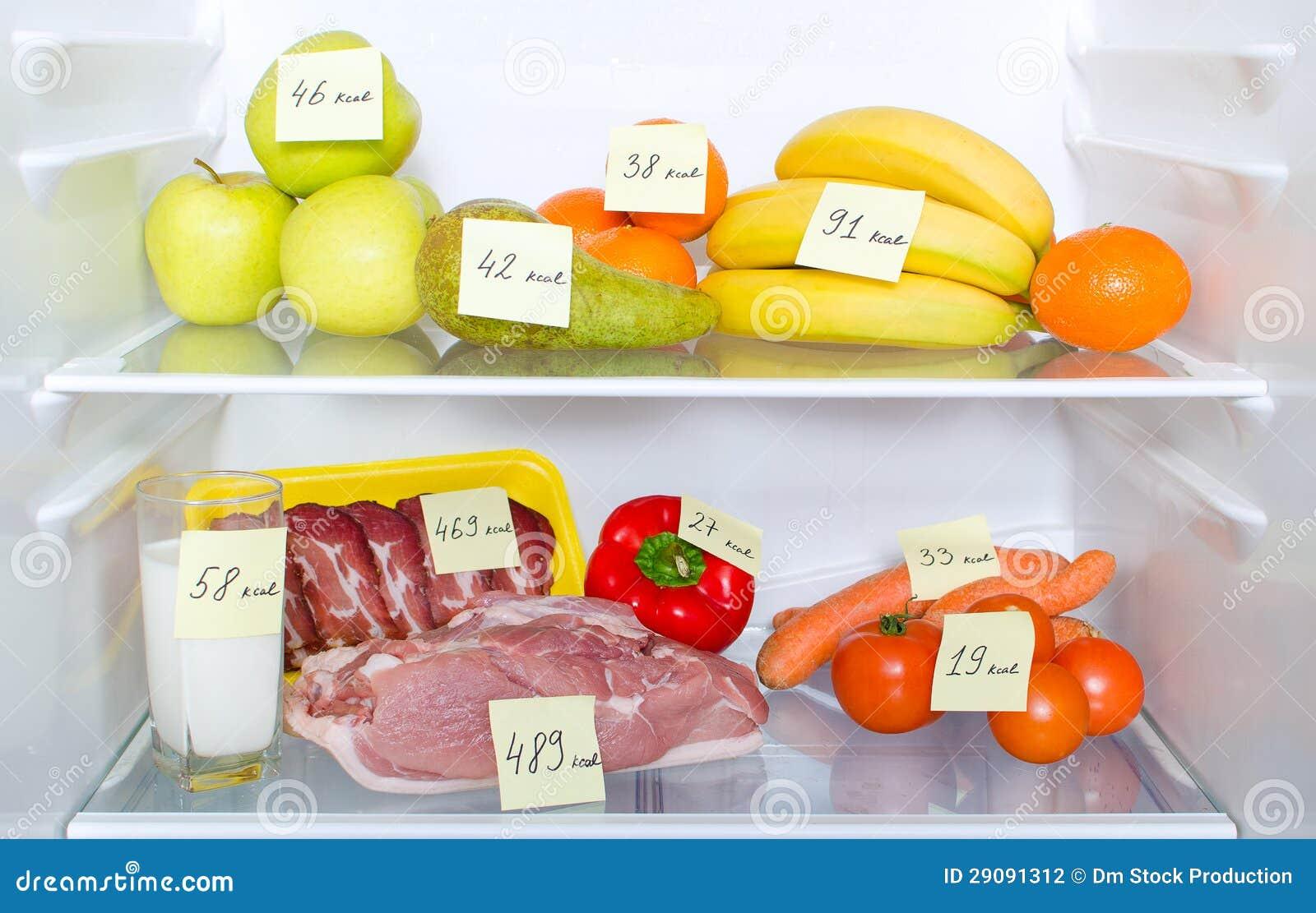 Open Fridge Full Of Fruits Vegetables And Meat Stock
