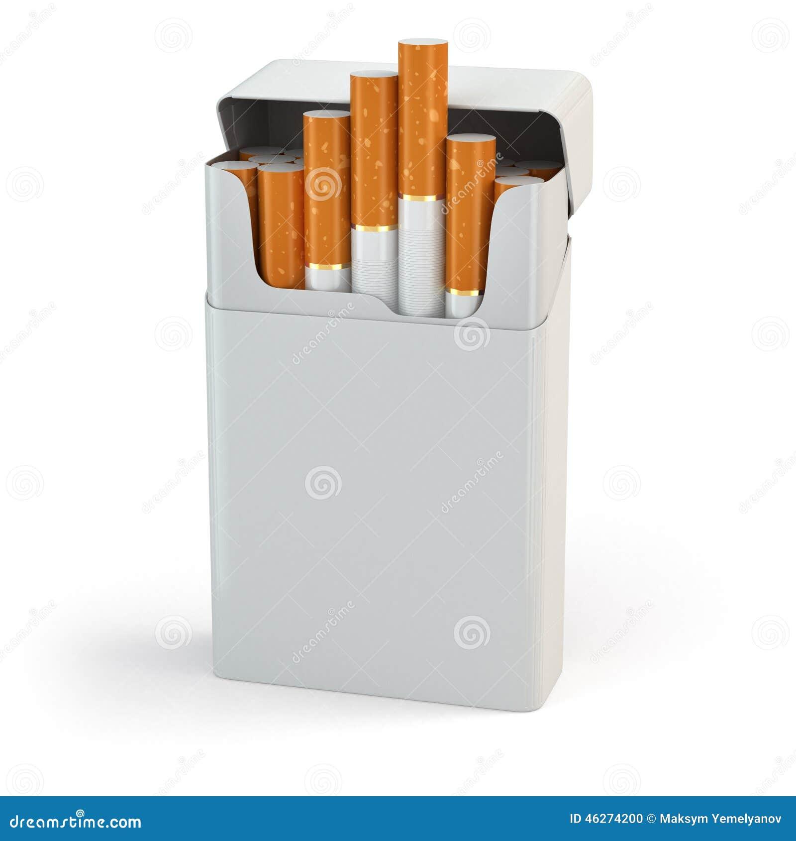 Open full pack of cigarettes on white background