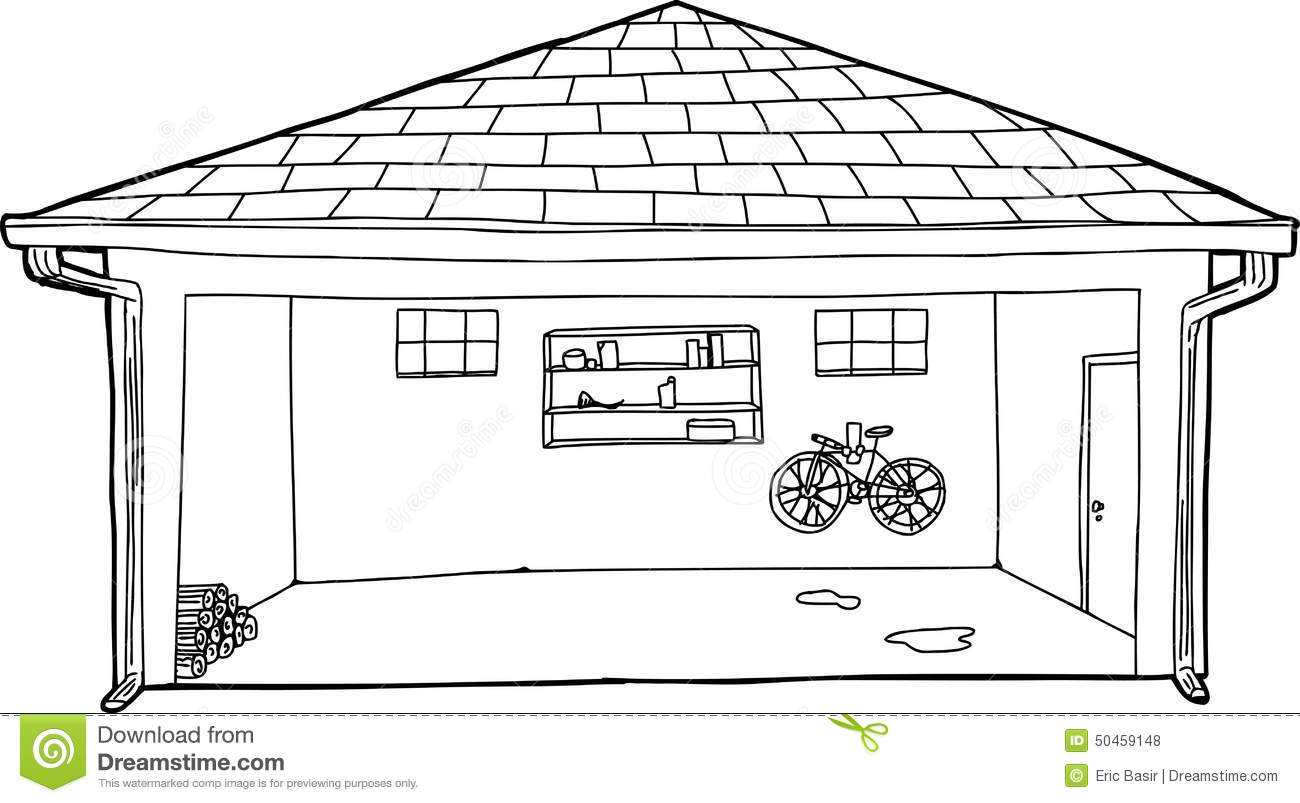 Open Garage Outline Cartoon Stock Illustration Image