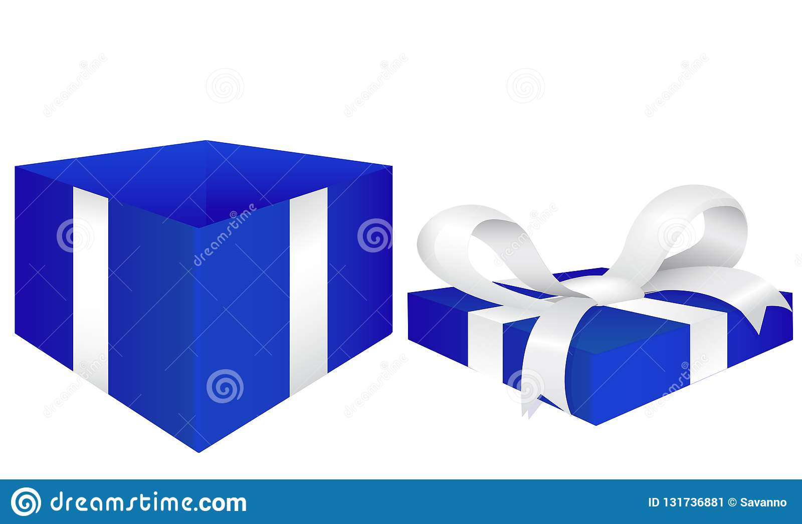 Open gift box. Blue box with red silk ribbon