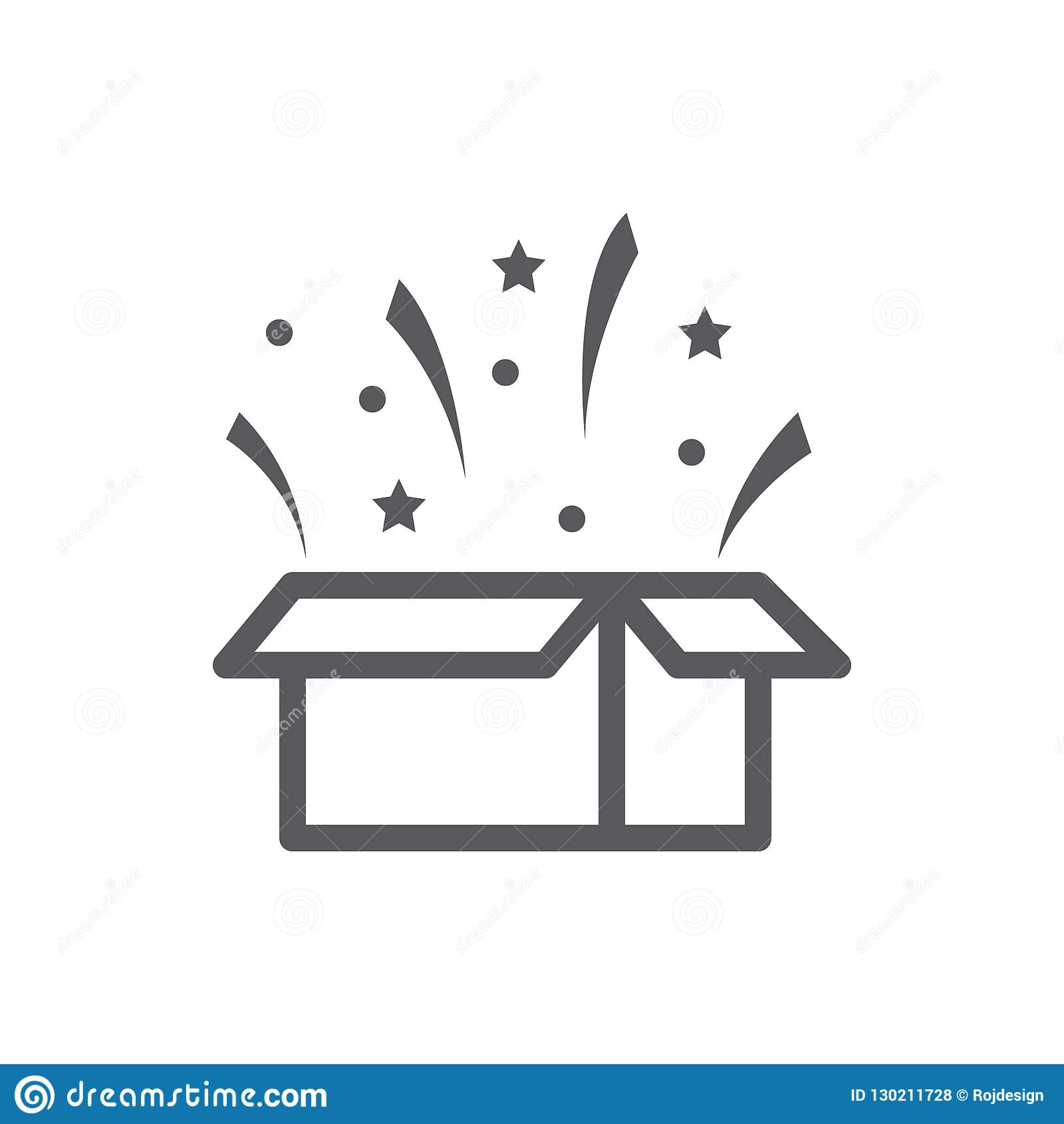 Open gift box with flying confetti - surprise concept in pixel perfect thin line icon with editable stroke.