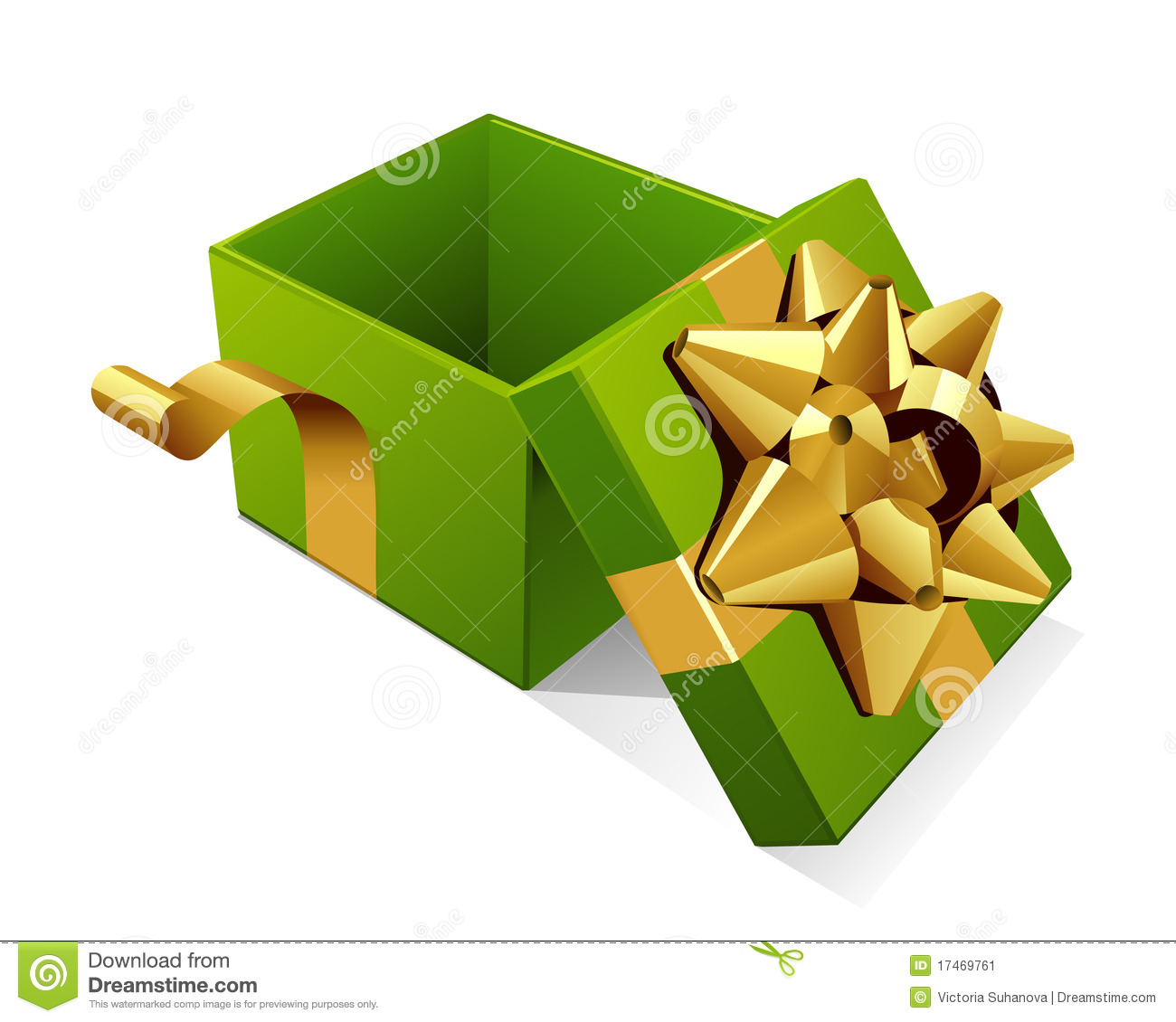 Open gift box with glossy gold bow stock vector illustration of open gift box with glossy gold bow negle Gallery