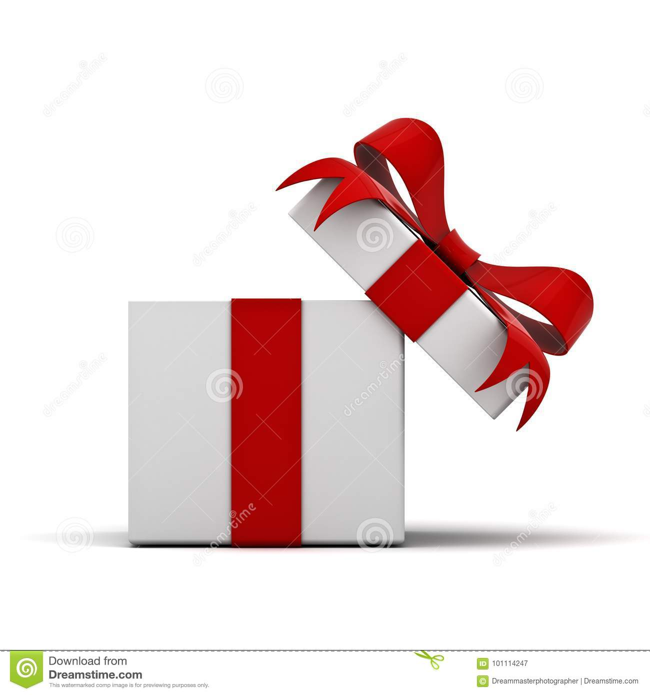 Open gift box and present box with red ribbon bow isolated on white background
