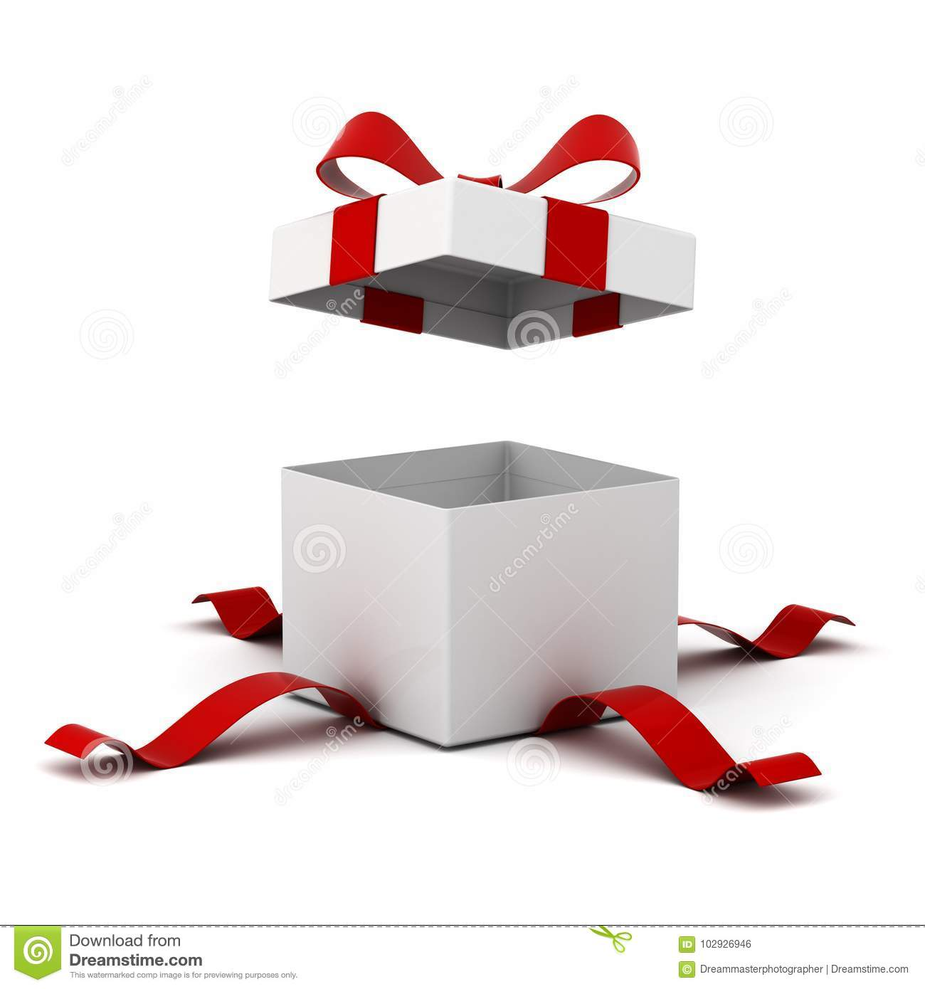 Open gift box , present box with red ribbon bow isolated on white background