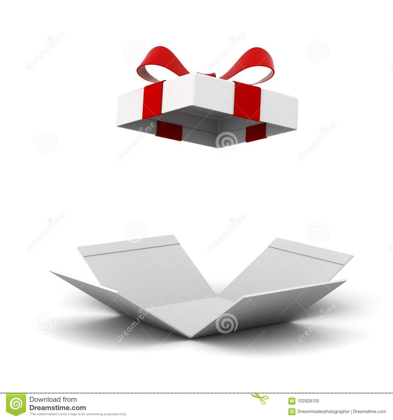 Open gift box , present box with red ribbon bow isolated on white background with shadow
