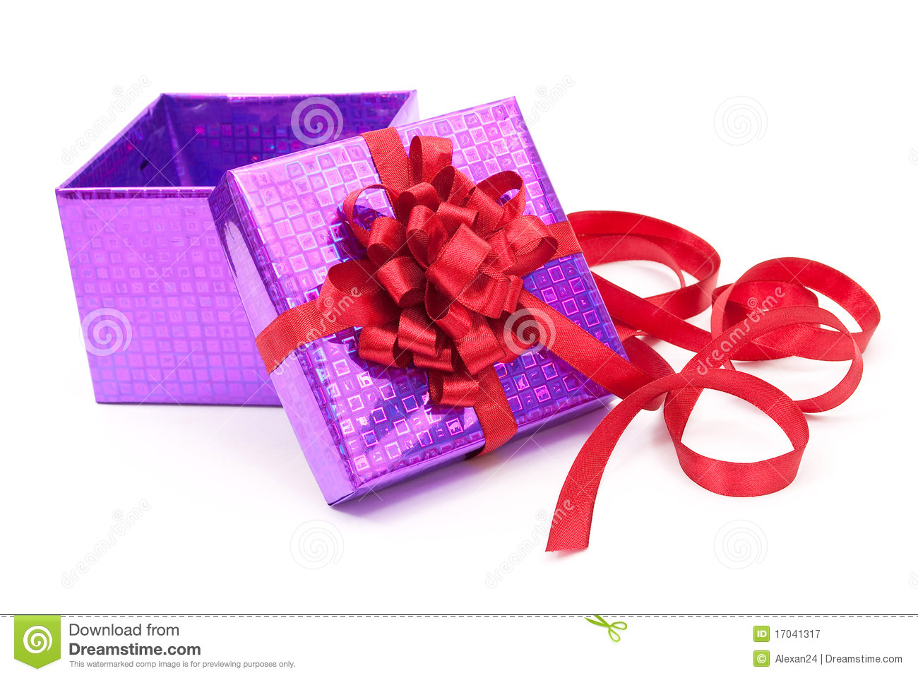 Open Gift Box With Red Bow Royalty Free Stock Photography ...