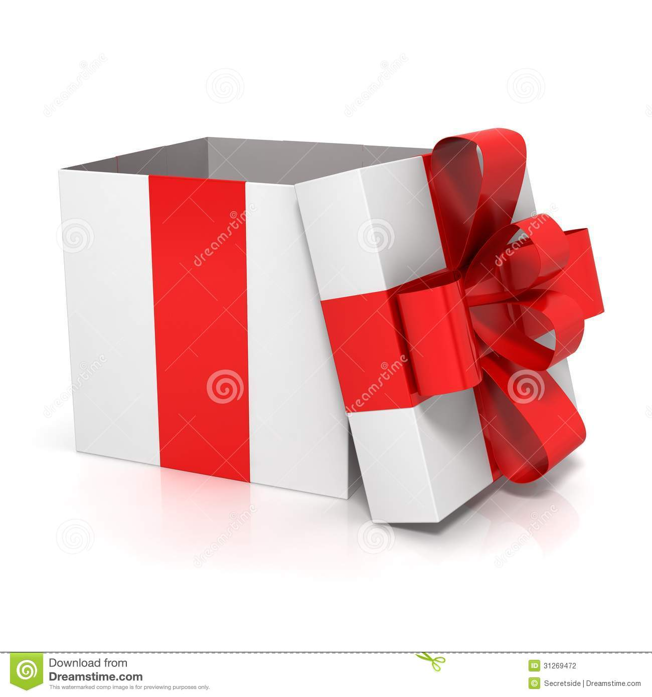 Open gift box with red bow stock illustration. Image of ...