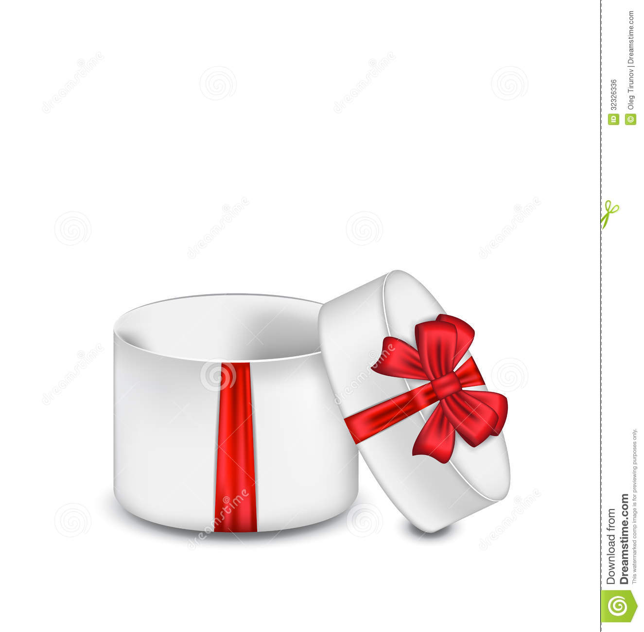 Open Gift Box With Red Bow Isolated On White Backg Stock ...
