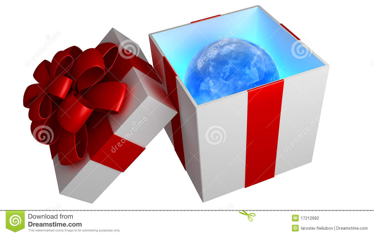 Open Gift Box With Red Ribbon And Bow Stock Photography ...