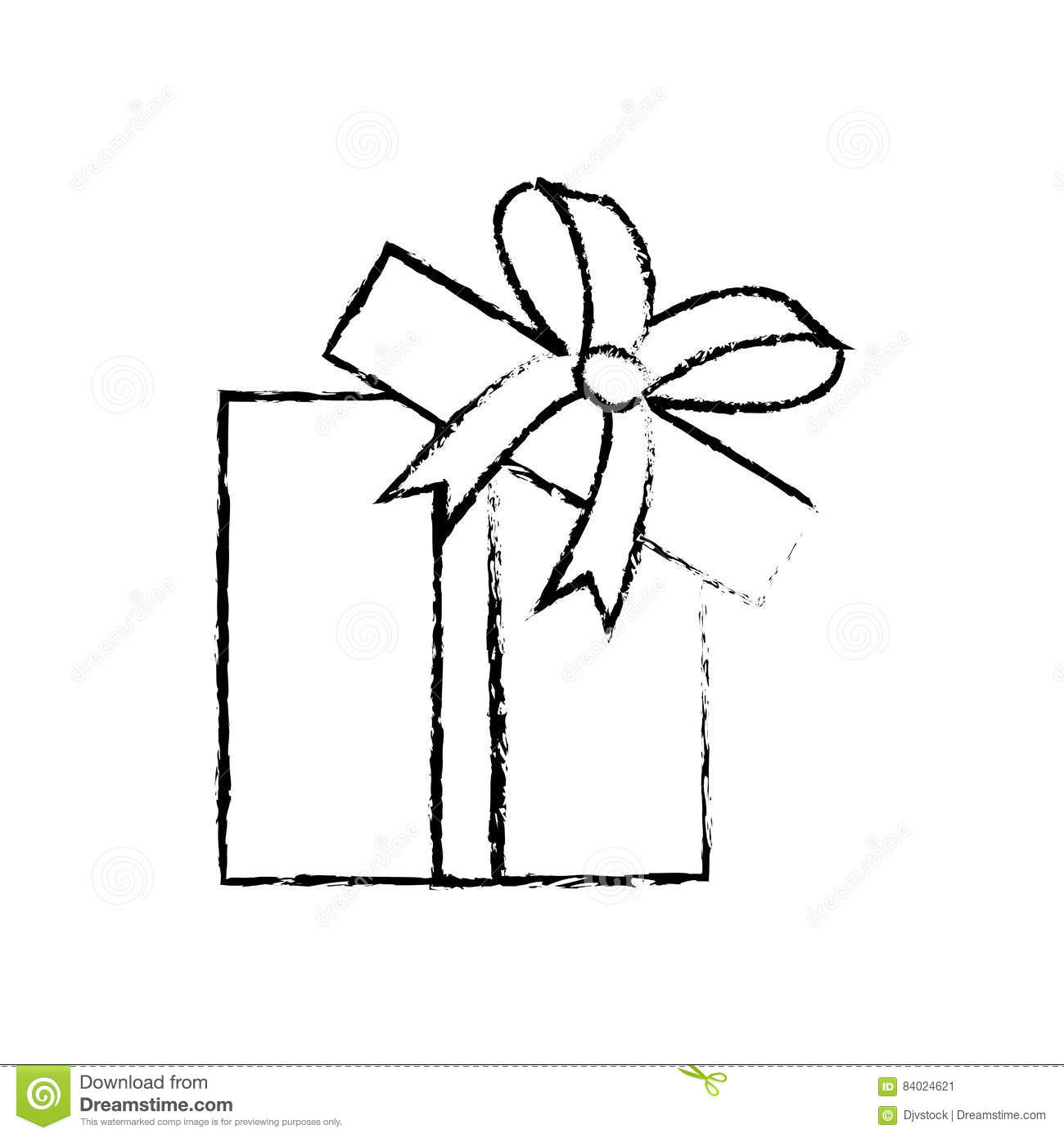Download Open Gift Box Ribbon Parcel Shopping Sketch Stock Illustration