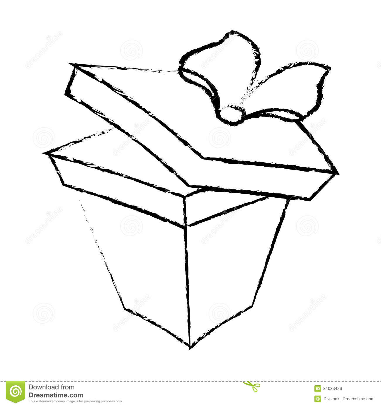 Open Gift Box Ribbon Valentine Party Sketch