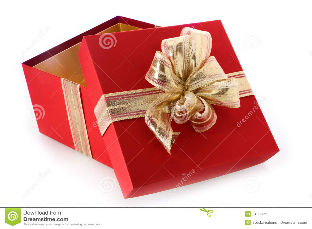 Open Gift Box With Tilted Lid And Gold Bow Stock Image