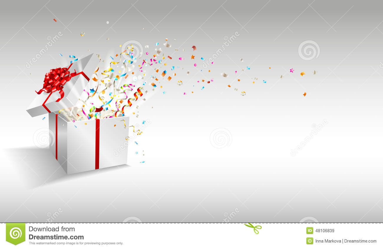 promotion congratulations stock photos images pictures  businessmen congratulations open gift fireworks from confetti royalty stock images