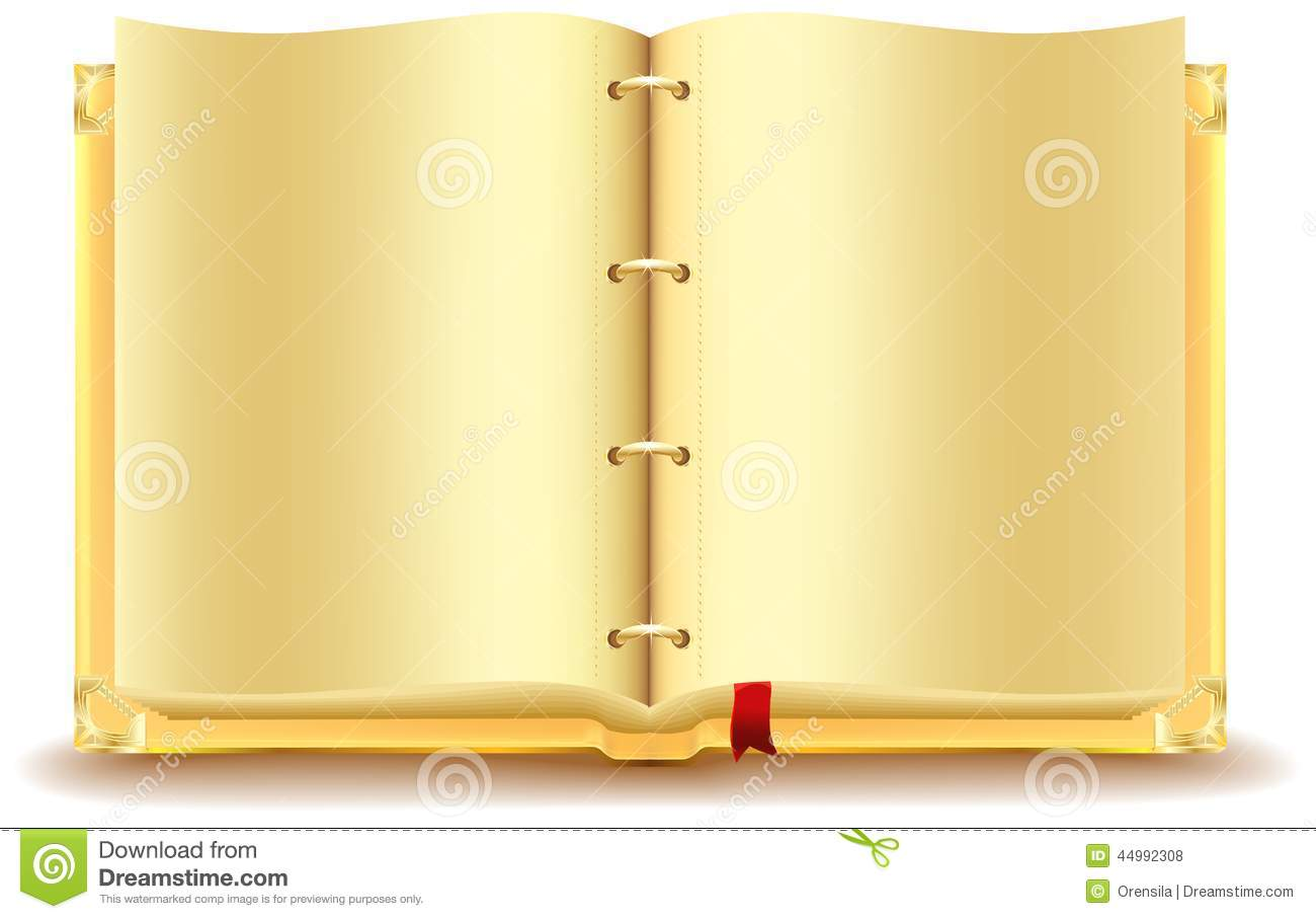 Open Gold Book Stock Vector Image 44992308